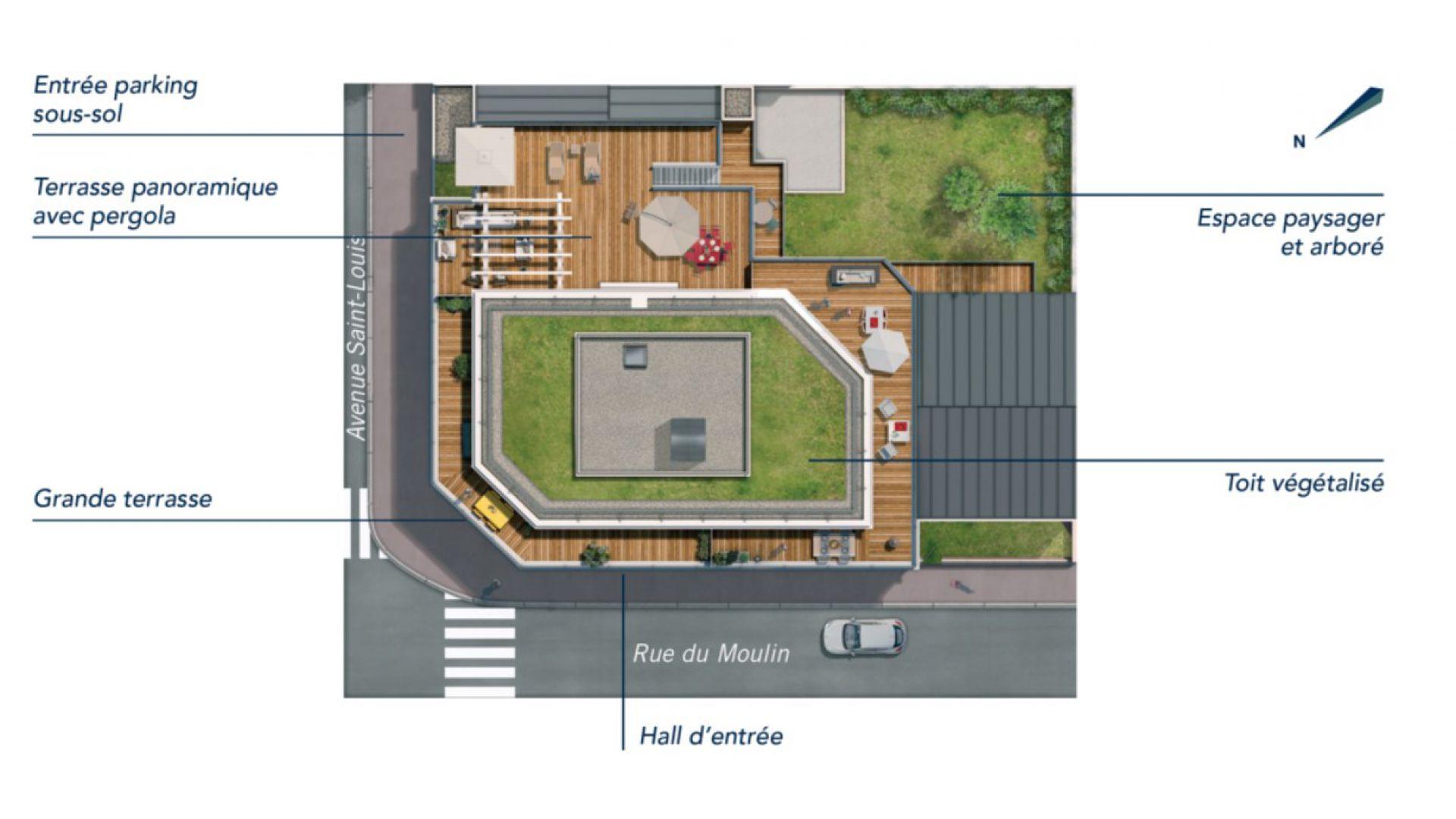 Greencity Immobilier - Résidence Le 26 Saint-Louis - 94100 Saint-Maur les Fossés - appartements neufs du T2 au T4   - plan de masse
