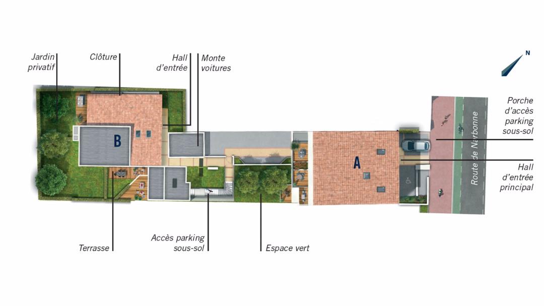 Greencity Immobilier - Le 37 - Toulouse - route de Narbonne - 31400 - plan de masse