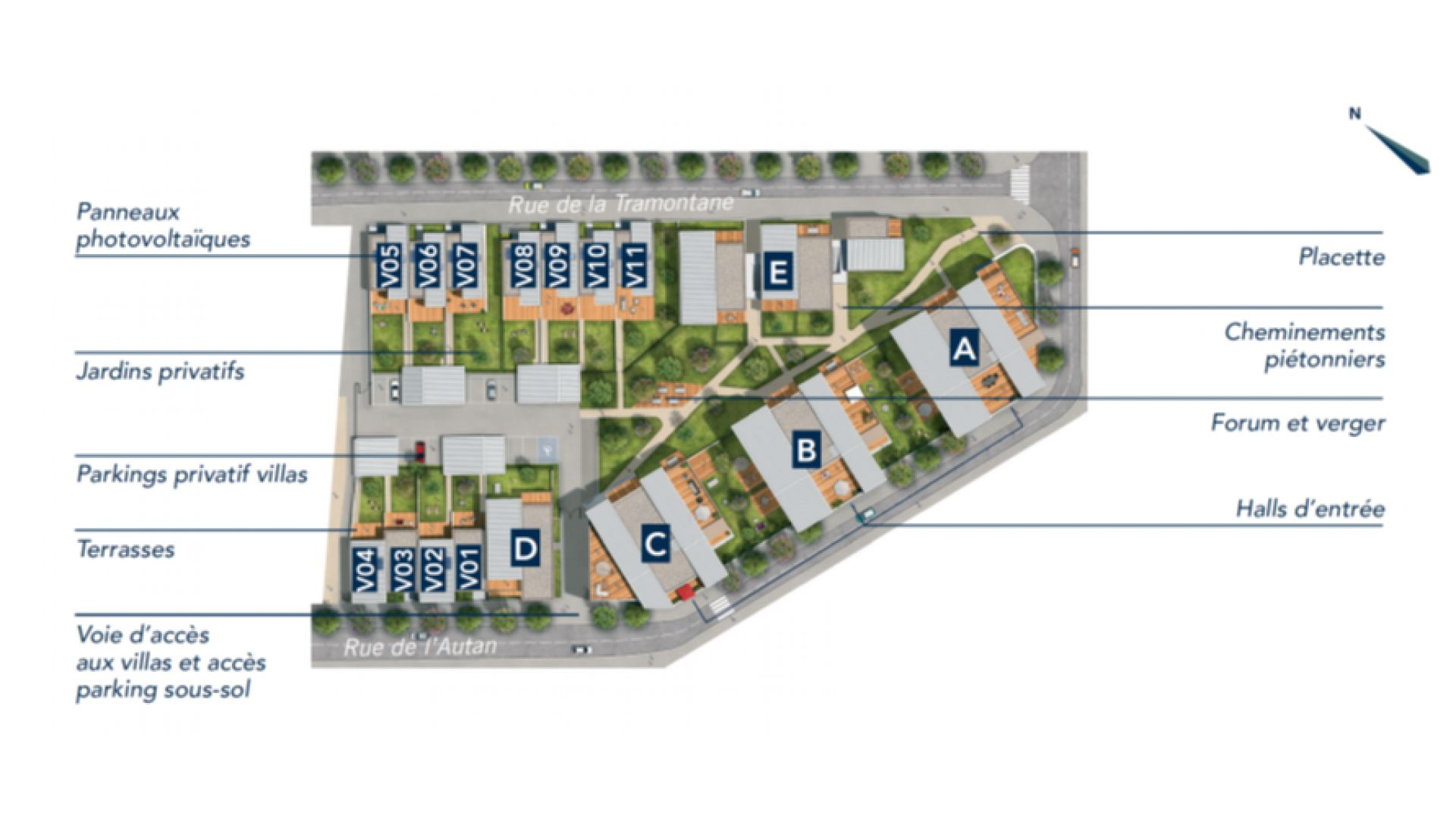 GreenCity immobilier - Blagnac-Beauzelle - 31700 - LB47 - appartements et villas - T2 - T3 - T4 -T5 - plan de masse