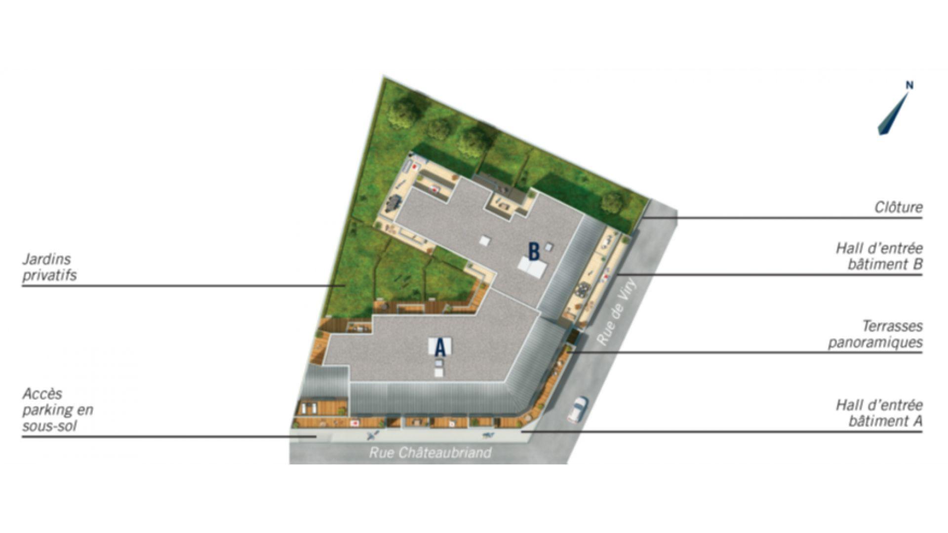GreenCity Immobilier - Savigny sur Orge 91600 - Le Beaumont - appartements T1 Bis - T2 - T3 - T4 - plan de masse