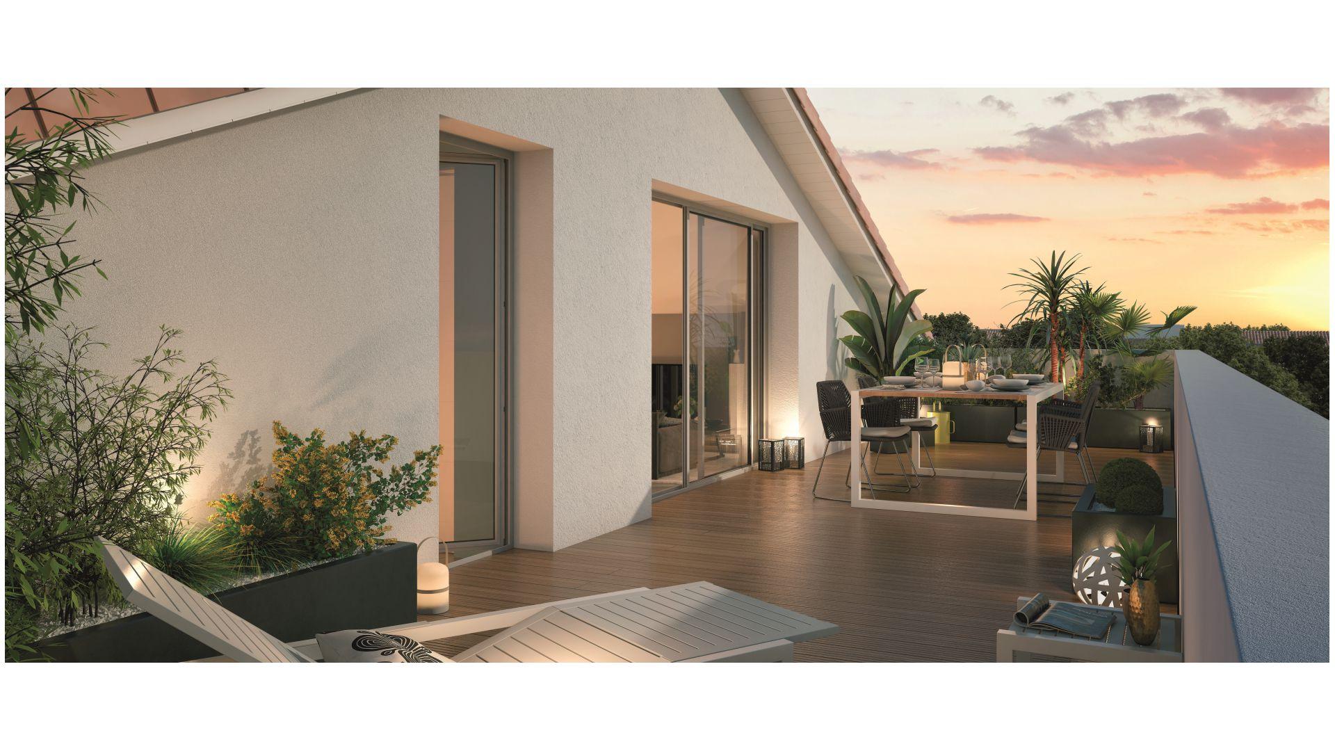 Greencity Immobilier - Le Bogey - Toulouse Saint-Simon 31100- Terrasse appartement T4