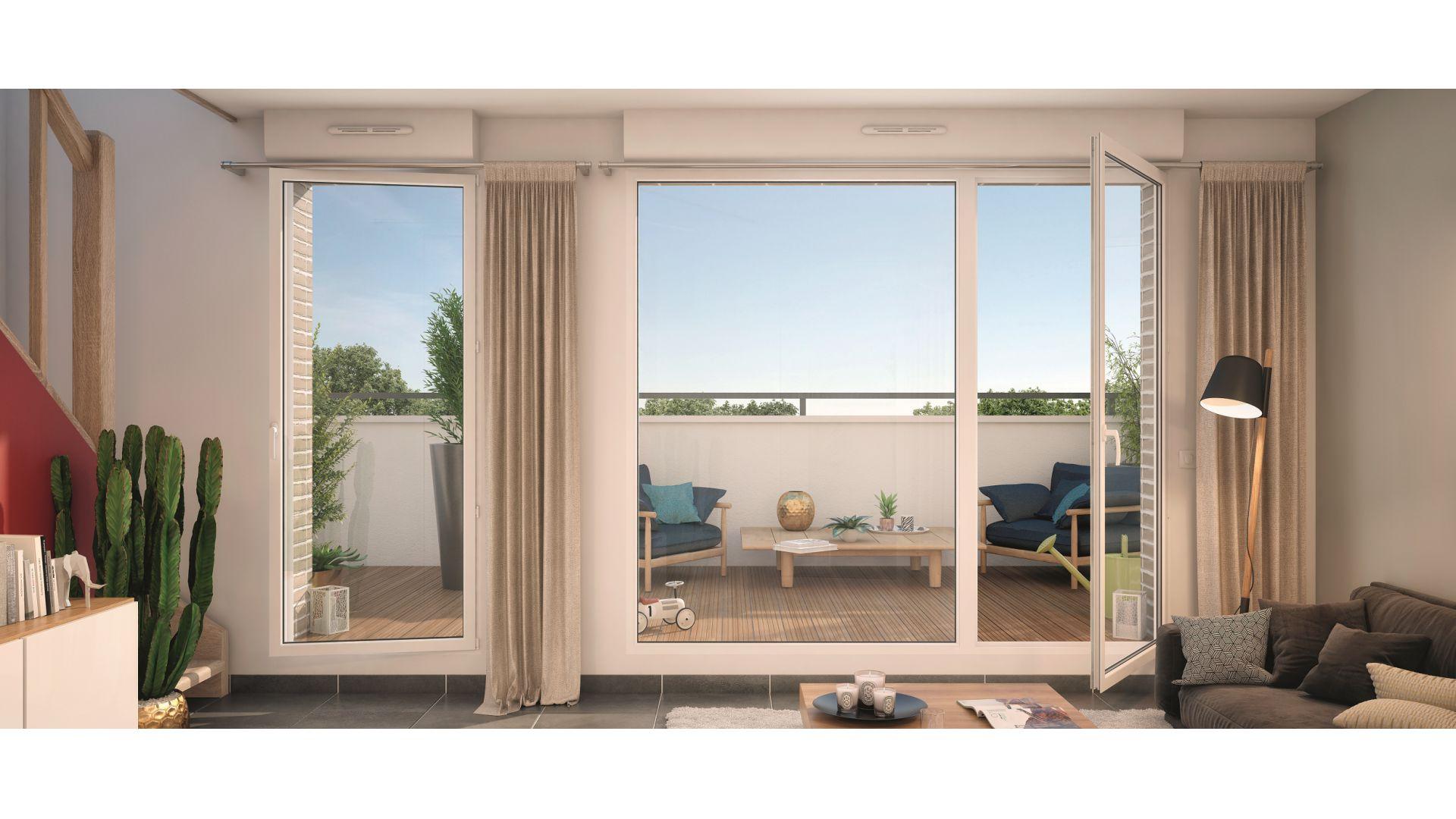 GreenCity immobilier - Livry-Gargan - 93190 - appartements du T1Bis au T3 Duplex - vue terrasse