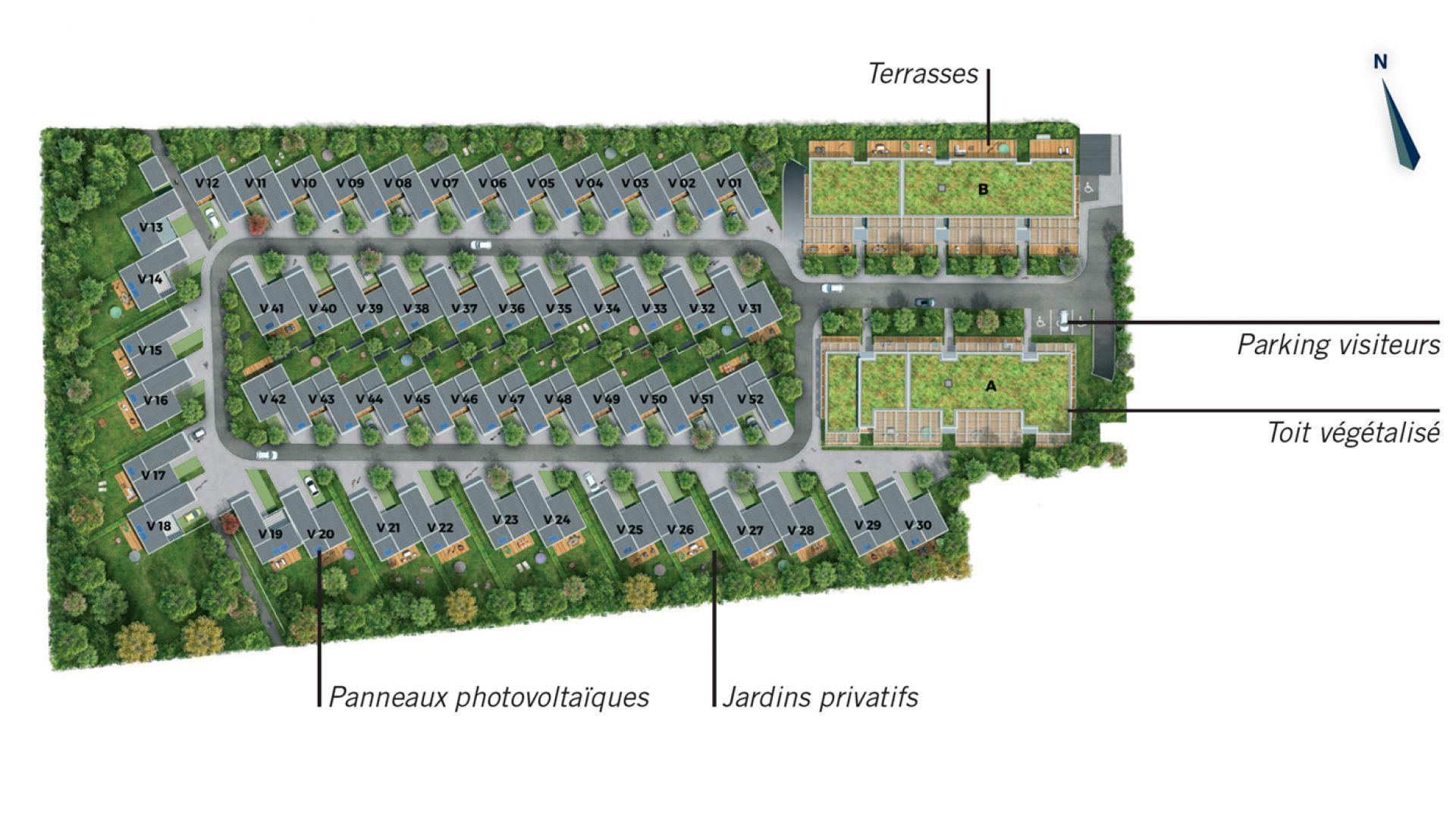 Greencity Immobilier - Cornebarrieu - Le Clos D'Agate - plan de masse