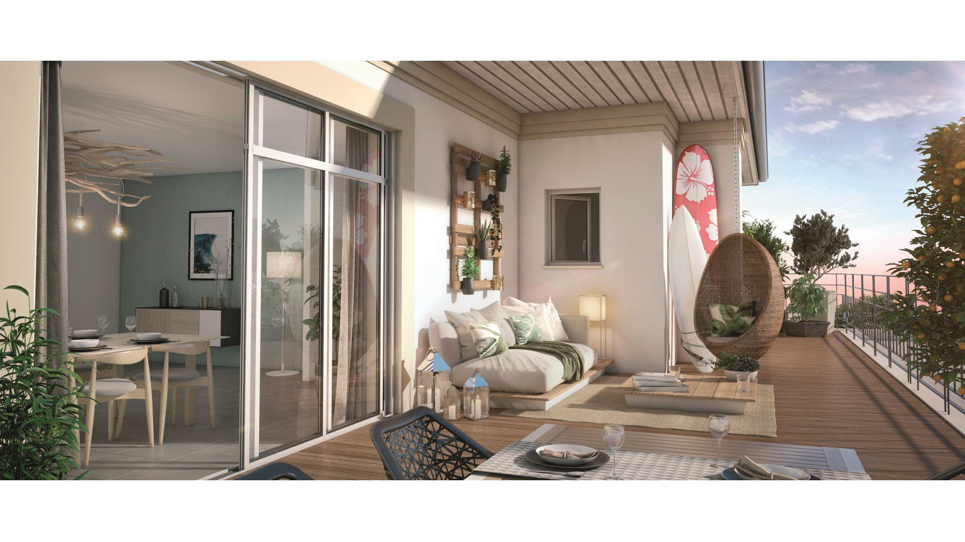 GreenCity immobilier - Biscarrosse - 40 600 - appartements du T1Bis au T4 - vue terrasse