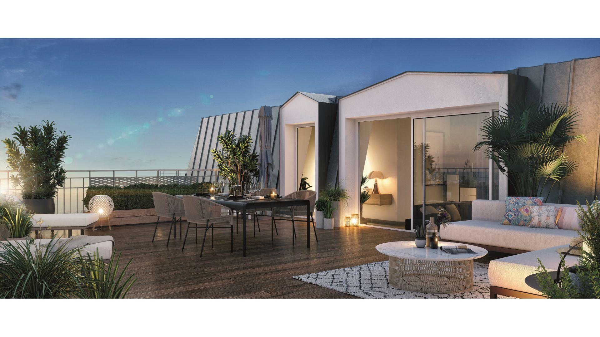 GreenCity immobilier - Savigny sur Orge - Résidence Le Clos D'Ambroise - 91600 - Appartements neufs du T1bis au T4 - vue terrasse
