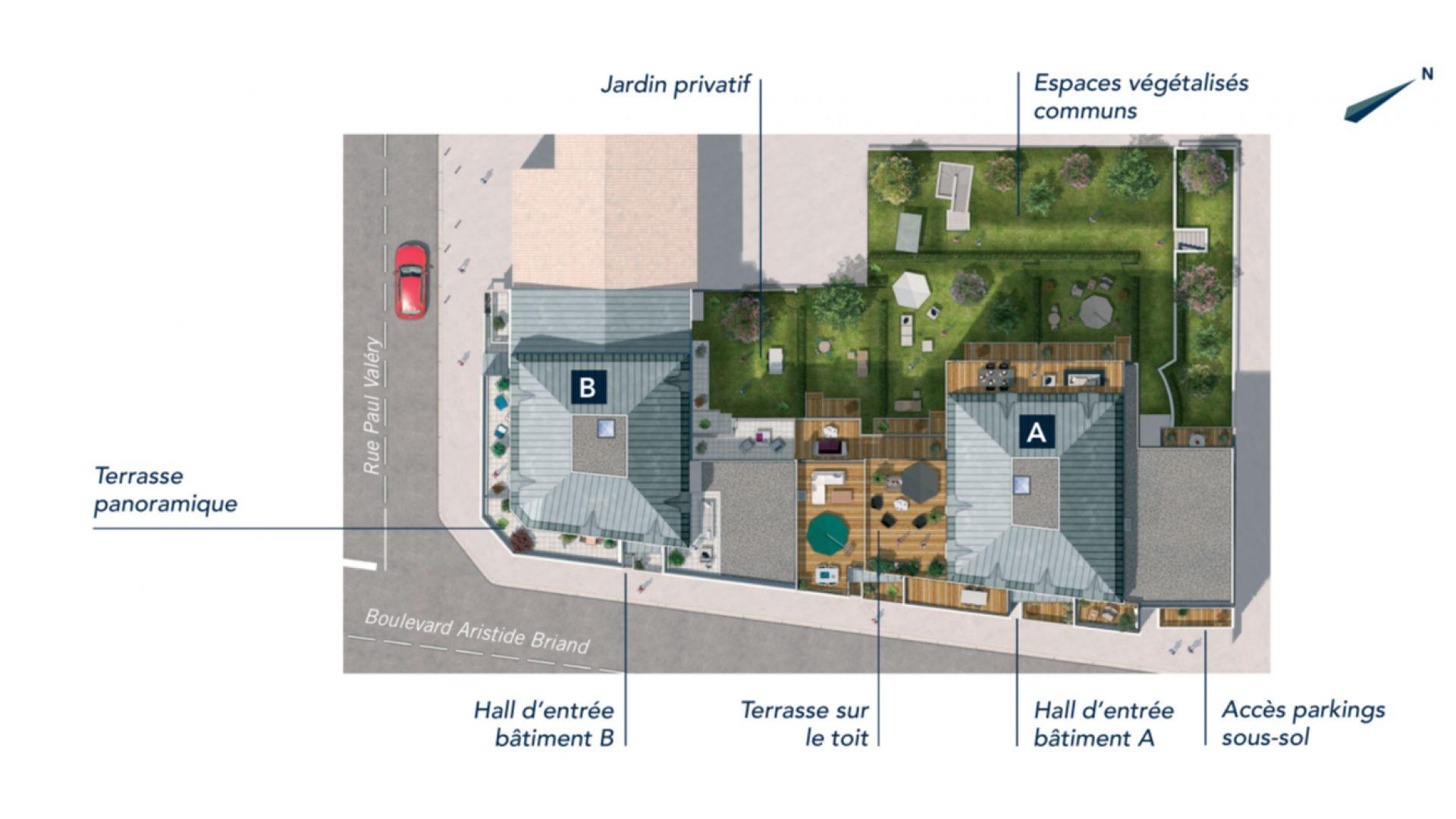 GreenCity immobilier - Savigny sur Orge - Résidence Le Clos D'Ambroise - 91600 - Appartements neufs du T1bis au T4 - plan de masse