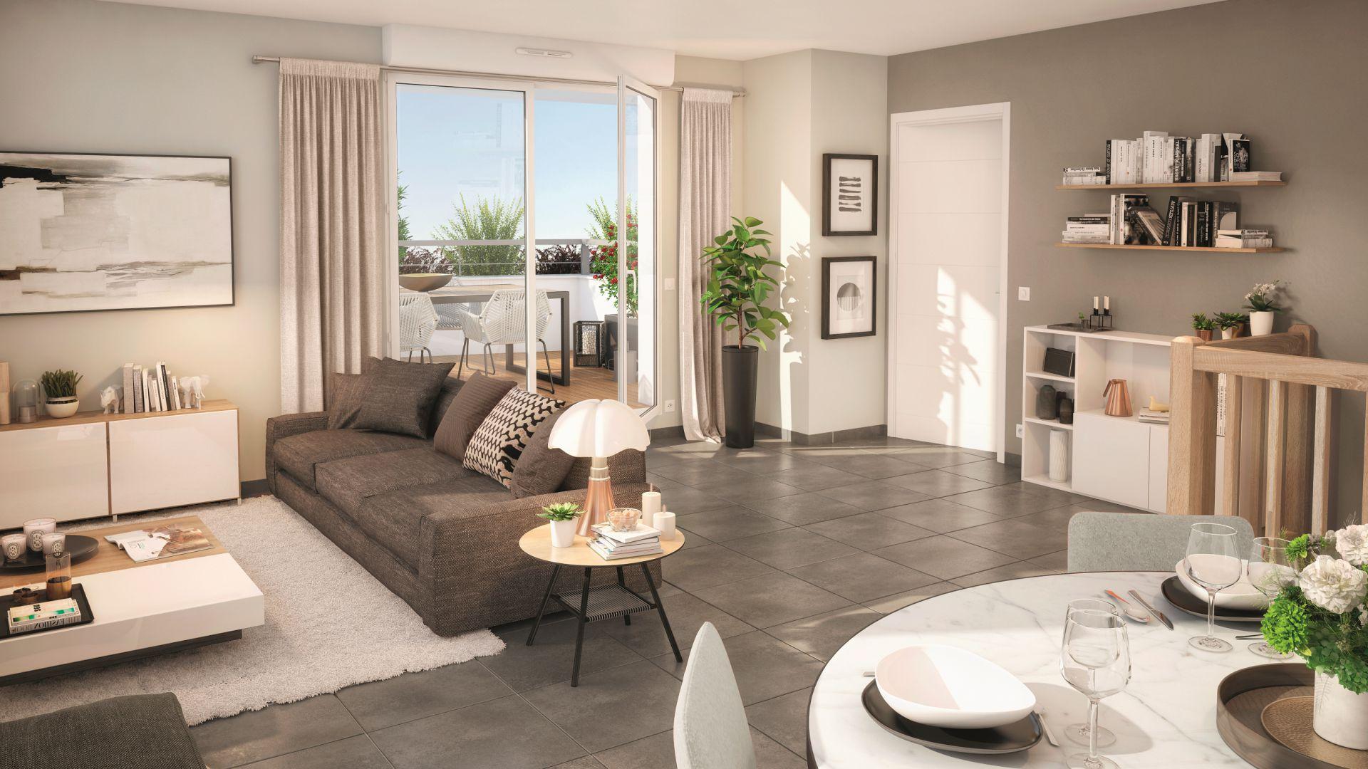 GreenCity immobilier - Toulouse rangueil 31400 - Le clos Juliette - appartements du T2 au T3duplex - vue intérieure