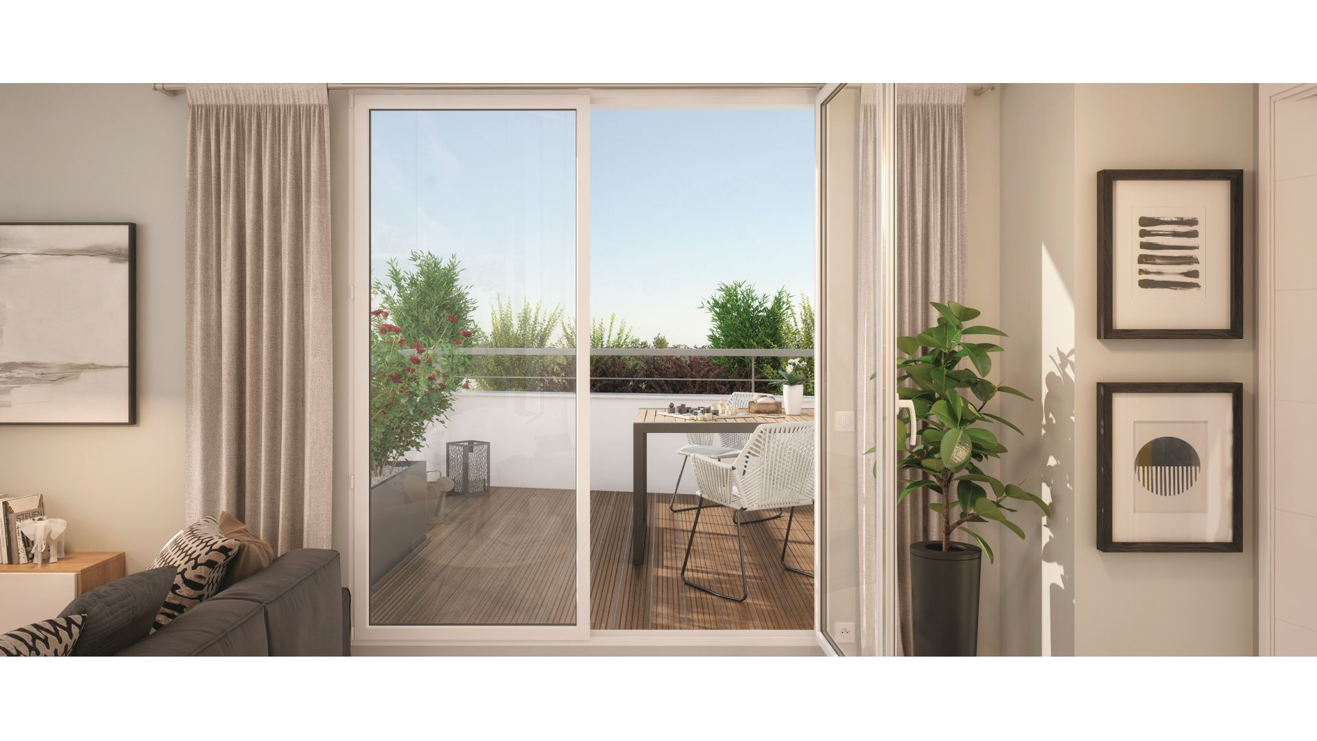 GreenCity immobilier - Toulouse rangueil 31400 - Le clos Juliette - appartements du T2 au T3duplex - vue terrasse