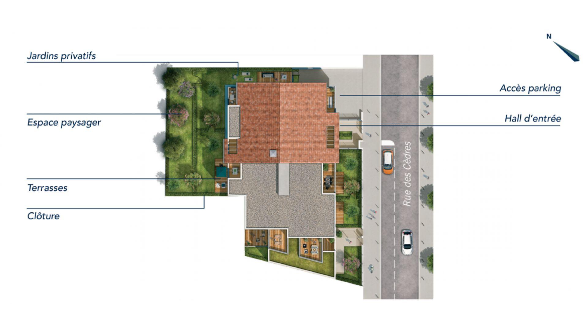 GreenCity immobilier - Toulouse rangueil 31400 - Le clos Juliette - appartements du T2 au T3duplex   - plan de mase