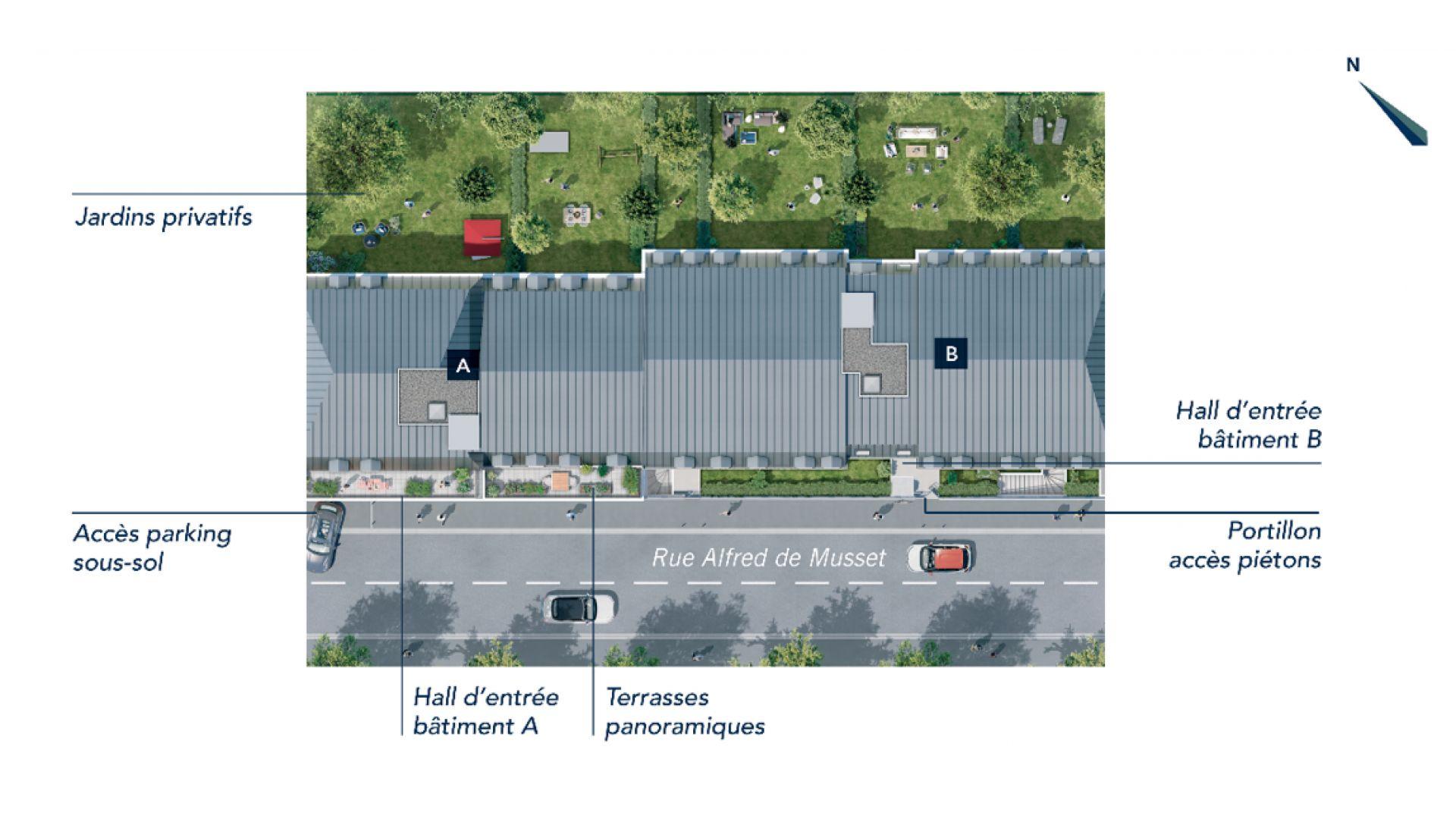Greencity Immobilier - Résidence Le Fantasio - achat appartements du T1au T3 - Savigny-sur-Orge 91600 - plan de masse