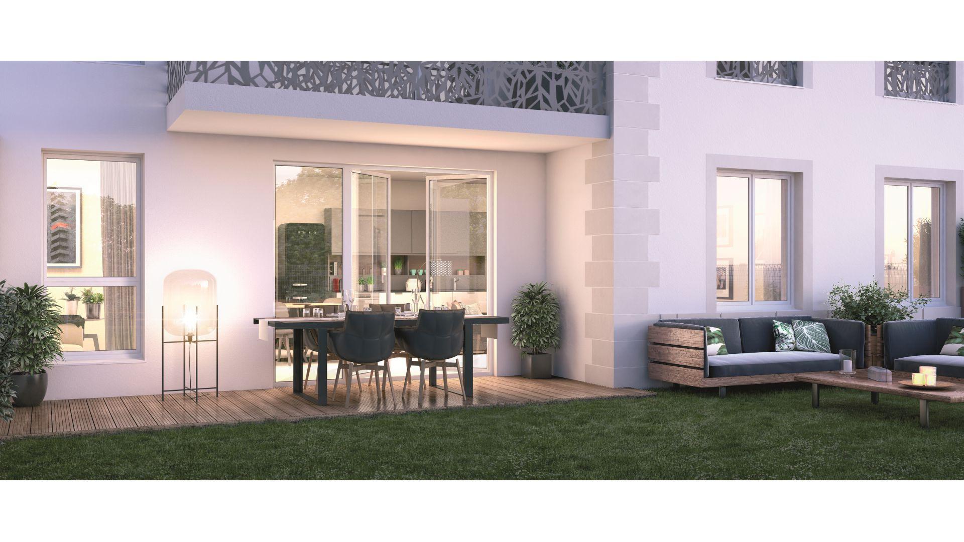 GreenCity immobilier - Vert-Le-Petit - 91710 - résidence Le Green Val - appartements neufs T2 - T3 - T4  - vue terrasse