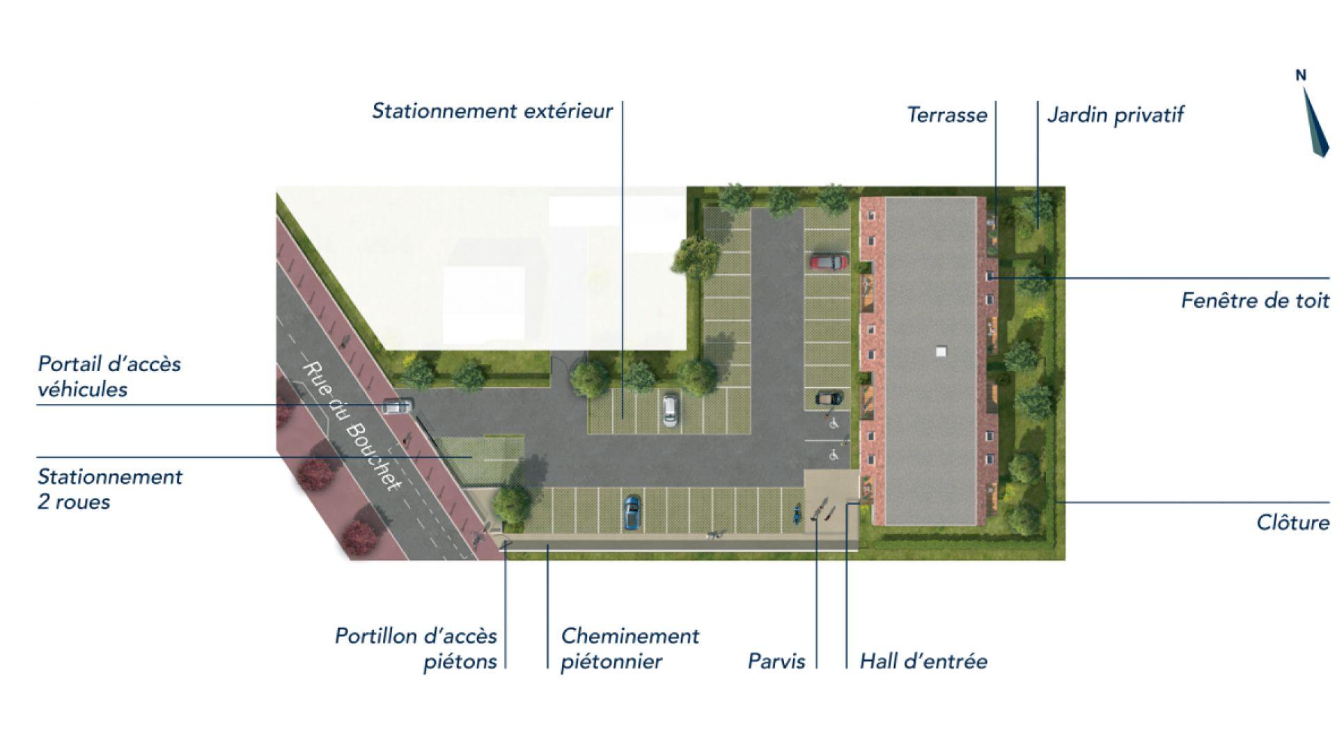 GreenCity immobilier - Vert-Le-Petit - 91710 - résidence Le Green Val - appartements neufs T2 - T3 - T4   - plan de masse