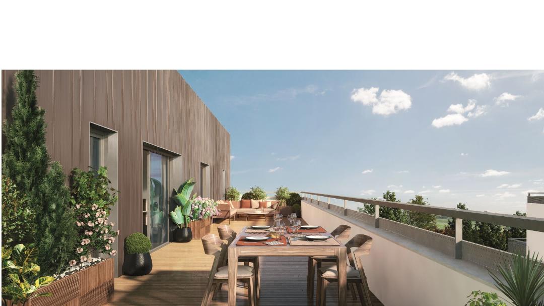 GreenCity immobilier - 31400 Toulouse Montaudran - Le GreenGarden - appartements du T1 au T4 - vue terrasse