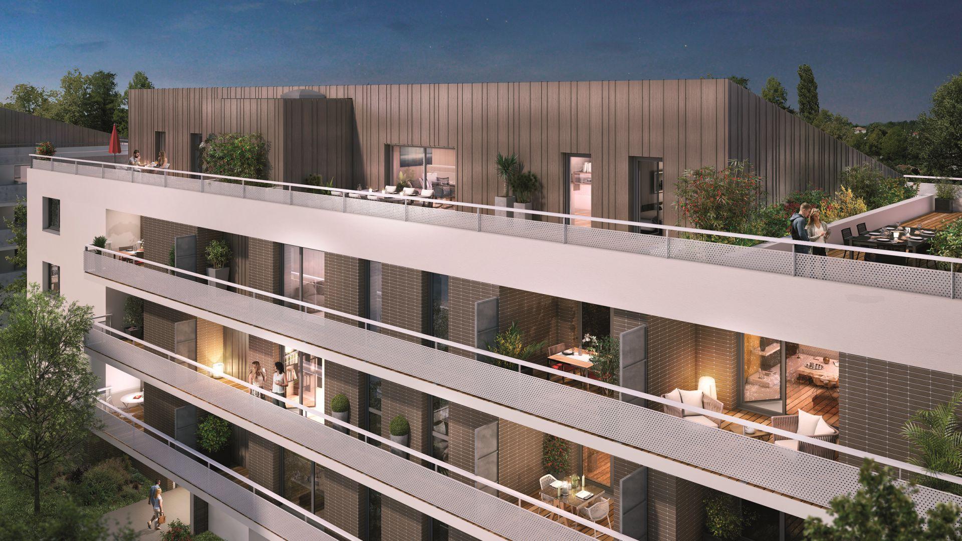 GreenCity immobilier - Toulouse Montaudran - rue rodier - GreenGarden 2 - appartement du T1 au T4 - accession prix maitrisés - vue rue