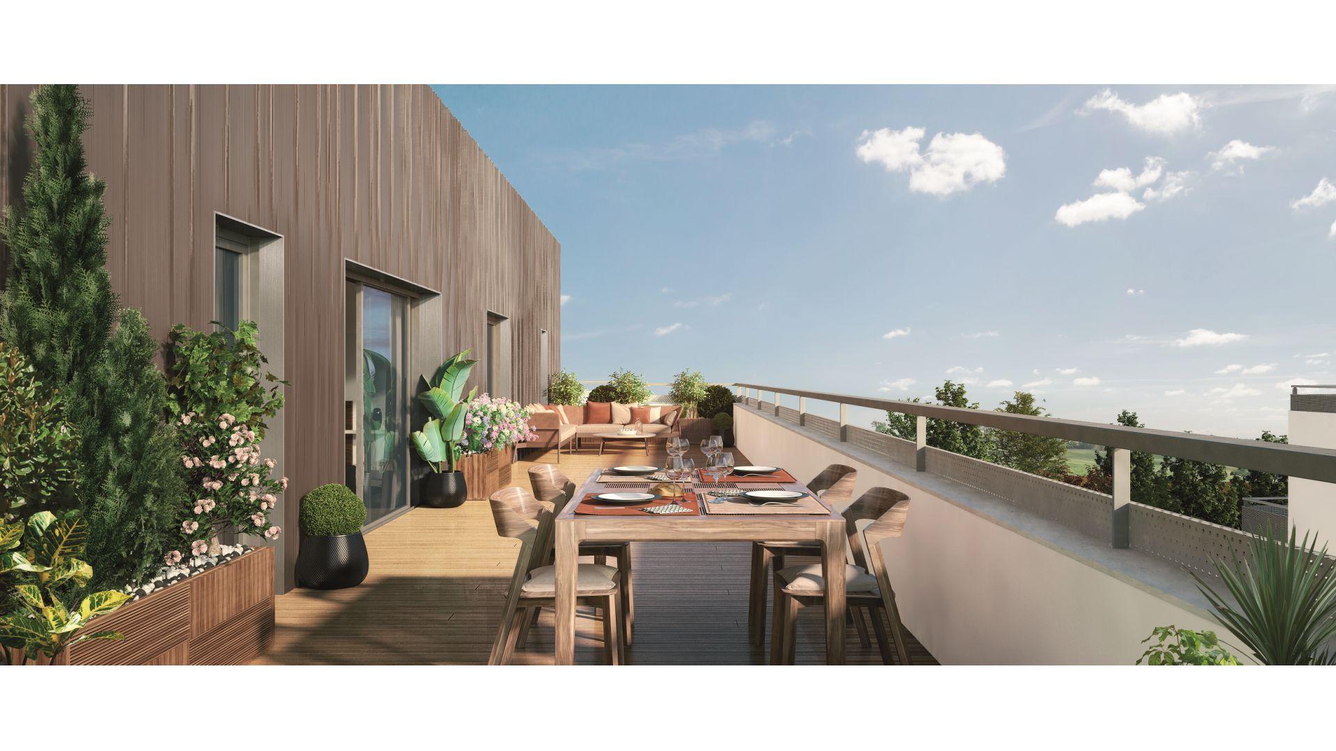 GreenCity immobilier - Toulouse Montaudran - rue rodier - GreenGarden 2 - appartement du T1 au T4 - accession prix maitrisés - vue terrasse