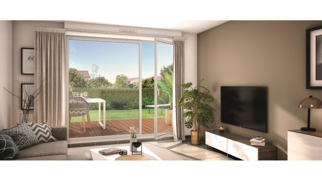 GreenCity immobilier - Mondonville - Le Hameau de Mondonville appartements du T2 au T4 - Le Hameau de Mondonville 31700 - vue terrasse