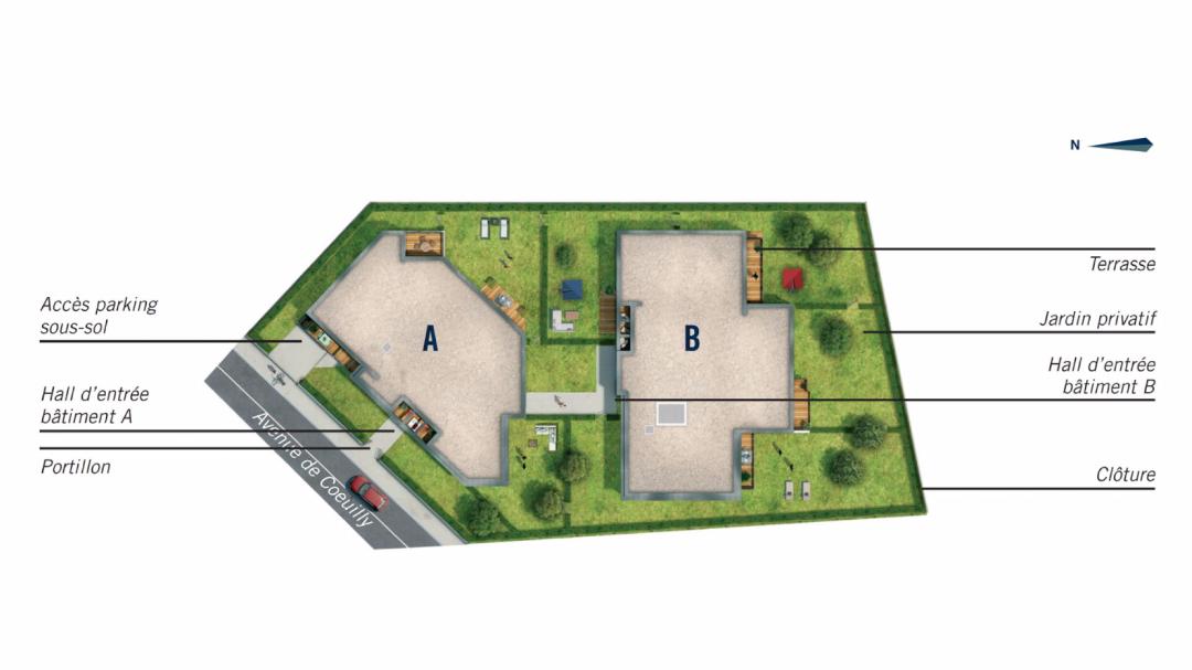 Greencity Immobilier - Le Hameau du Fort - Chennevières sur Marne - 94430 - Plan de Masse