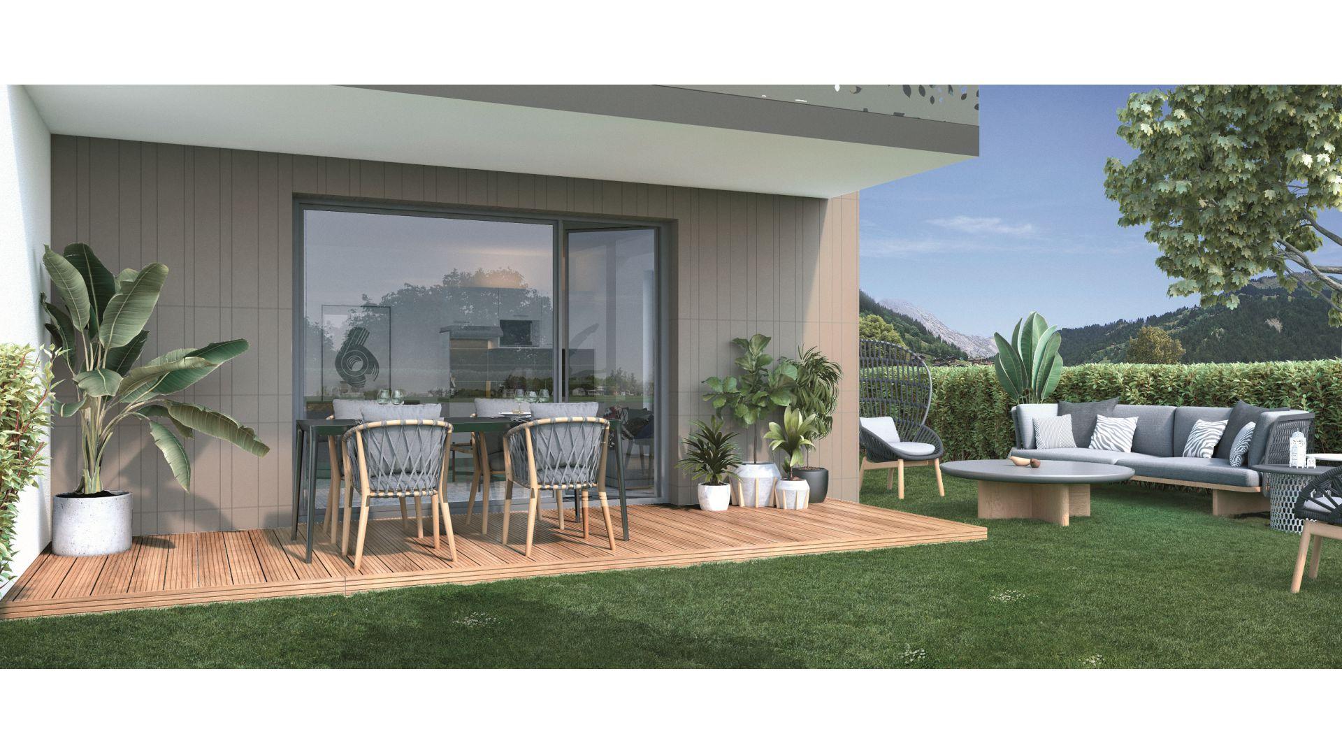 GreenCity immobilier - Thyez - 74300 - proche Genève - Résidence Le Jardin D'Aubeline - Appartements neuf du T1 au T3 - vue terrasse