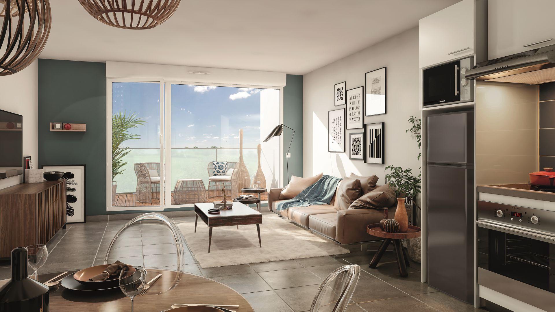 Greencity Immobilier - Le Madison - 31860 Labarthe sur Lèze - achat appartements neufs du T2 au T3 - vue intérieure