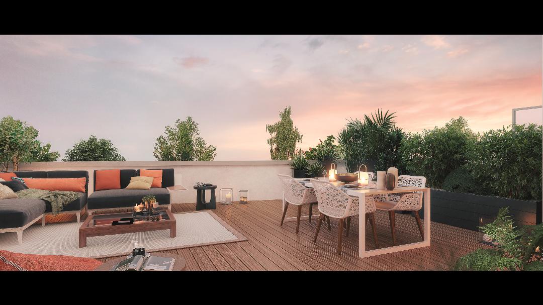Greencity Immobilier - Le Madison - 31860 Labarthe sur Lèze - achat appartements neufs du T2 au T3 - vue terrasse