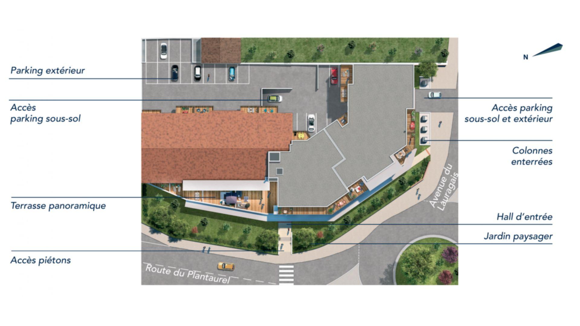 Greencity Immobilier - Le Madison - 31860 Labarthe sur Lèze - achat appartements neufs du T2 au T3 - plan de masse