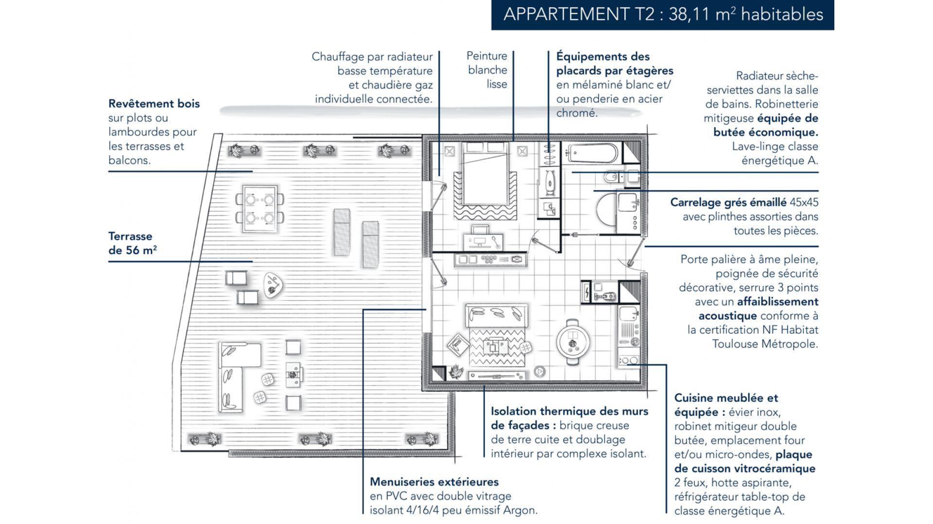 Greencity Immobilier - Le Madison - 31860 Labarthe sur Lèze - achat appartements neufs du T2 au T3 - plan T2