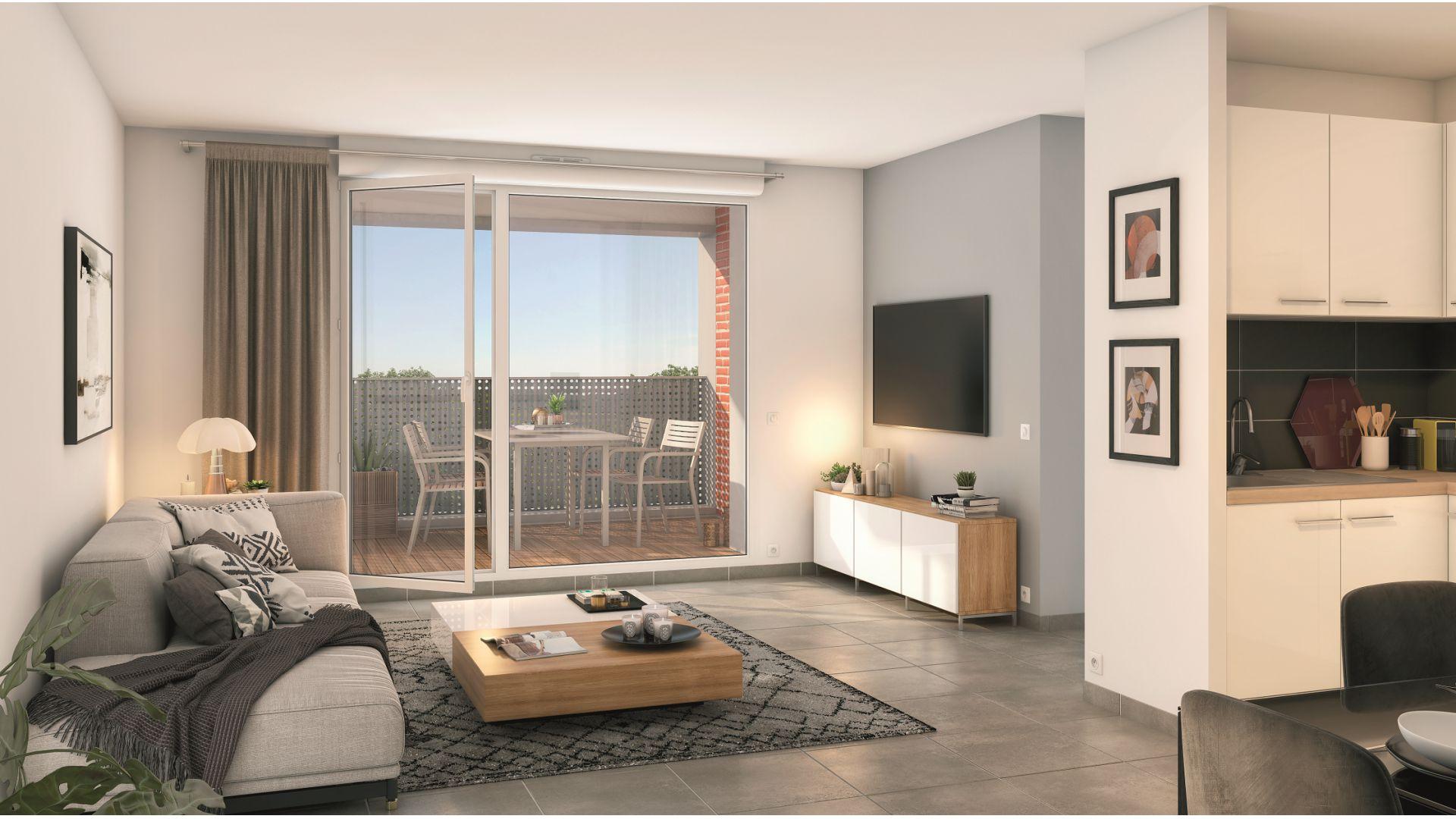 GreenCity immobilier - Saint-Jory - 31790 - Résidence Le Mas Séréna - appartements neufs du T2 au T3  - vue intérieure