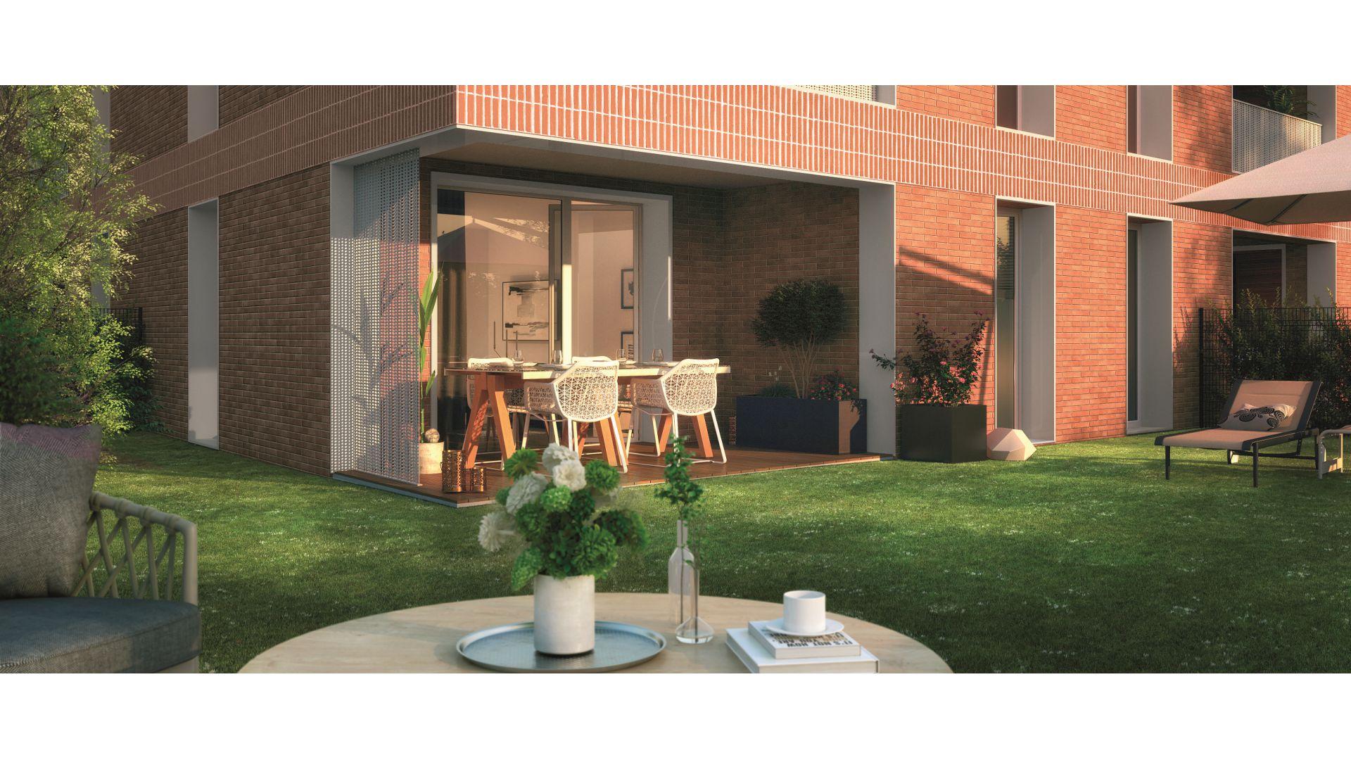 GreenCity immobilier - Saint-Jory - 31790 - Résidence Le Mas Séréna - appartements neufs du T2 au T3  - vue terrasse