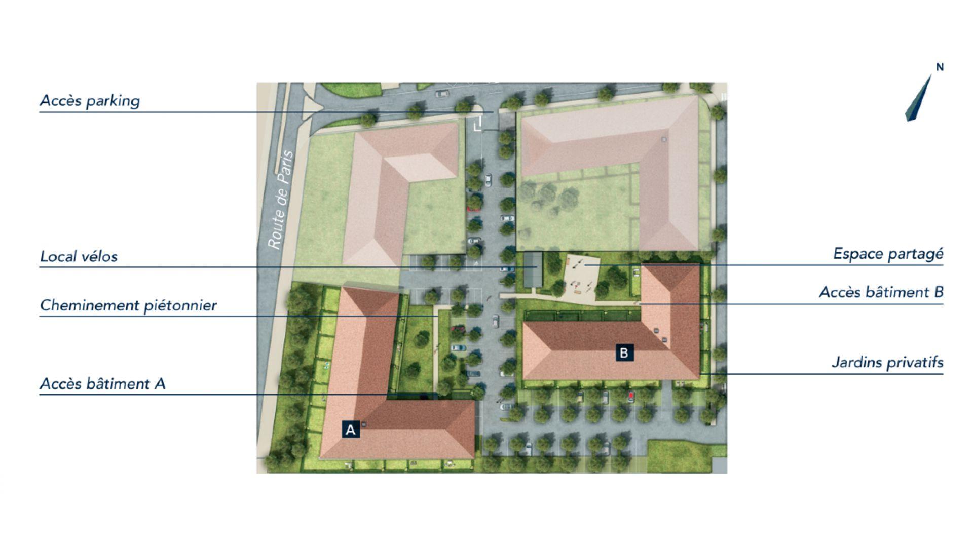 GreenCity immobilier - Saint-Jory - 31790 - Résidence Le Mas Séréna - appartements neufs du T2 au T3   - plan de masse