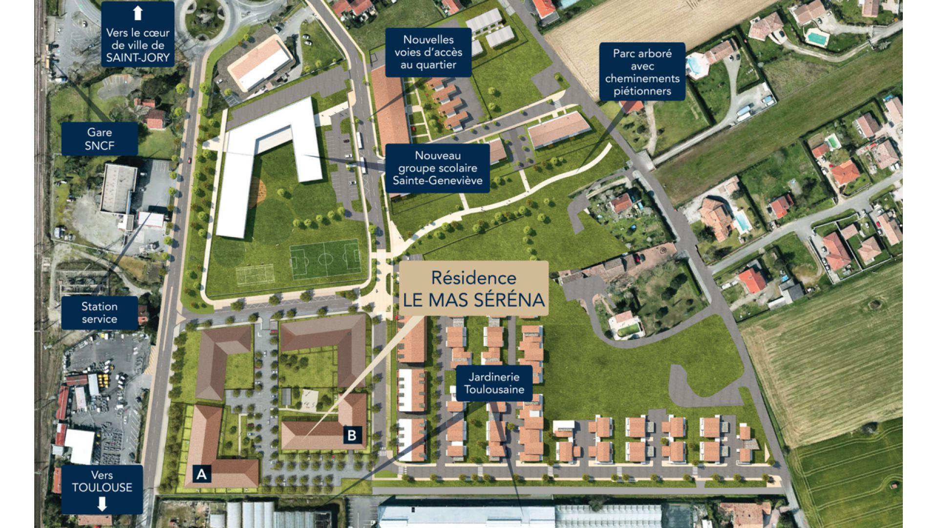 GreenCity immobilier - Saint-Jory - 31790 - Résidence Le Mas Séréna - appartements neufs du T2 au T3  - vue nouveau quartier