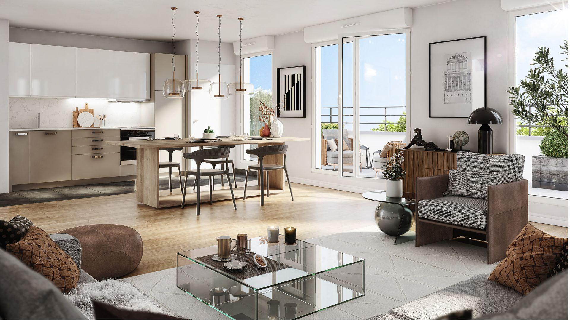 Greencity Immobilier - Résidence Le Régent - achat appartements du T1au T4 - Bagnolet 93170 - vue intérieure