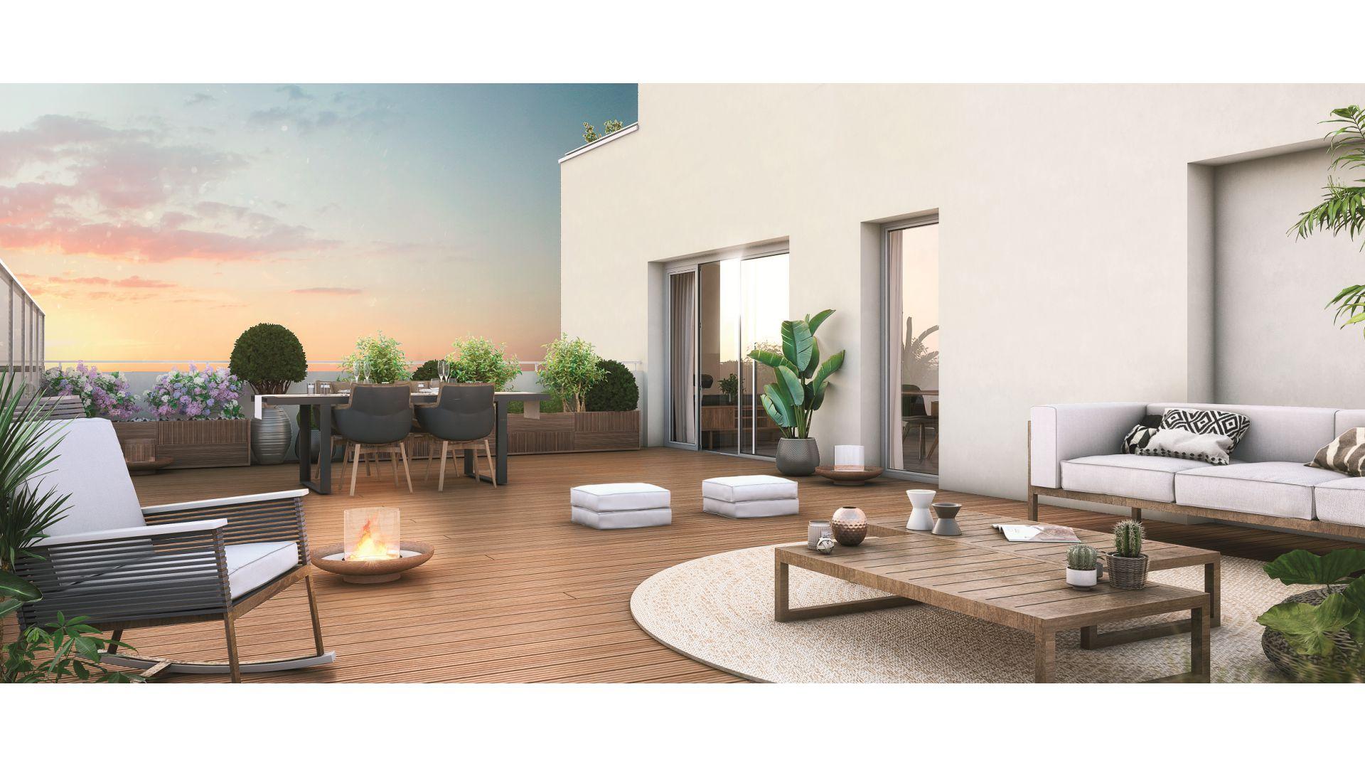 GreenCity Immobilier - Asnières sur seine - 92600 - Résidence Le Renan - appartements neufs du T2 au T5 Duplex - vue terrasse