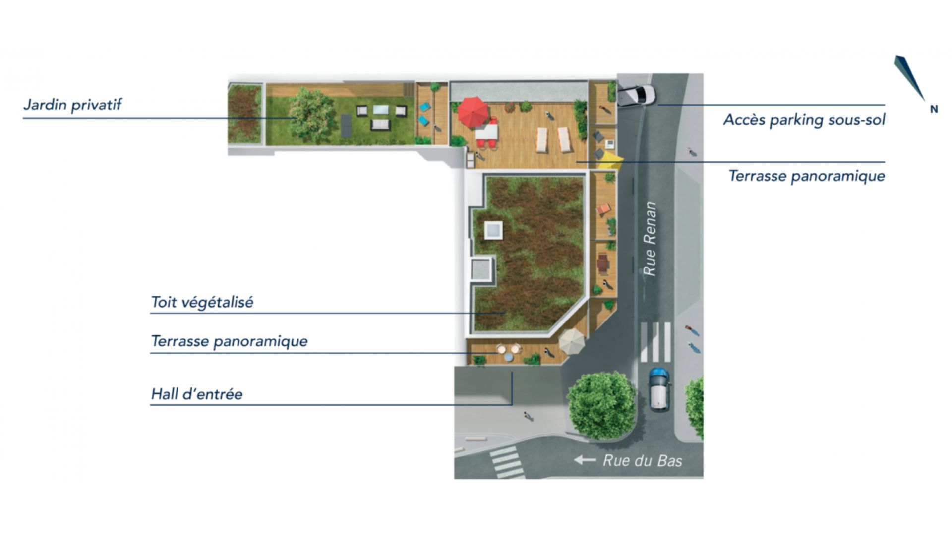 GreenCity Immobilier - Asnières sur seine - 92600 - Résidence Le Renan - appartements neufs du T2 au T5 Duplex - plan de masse