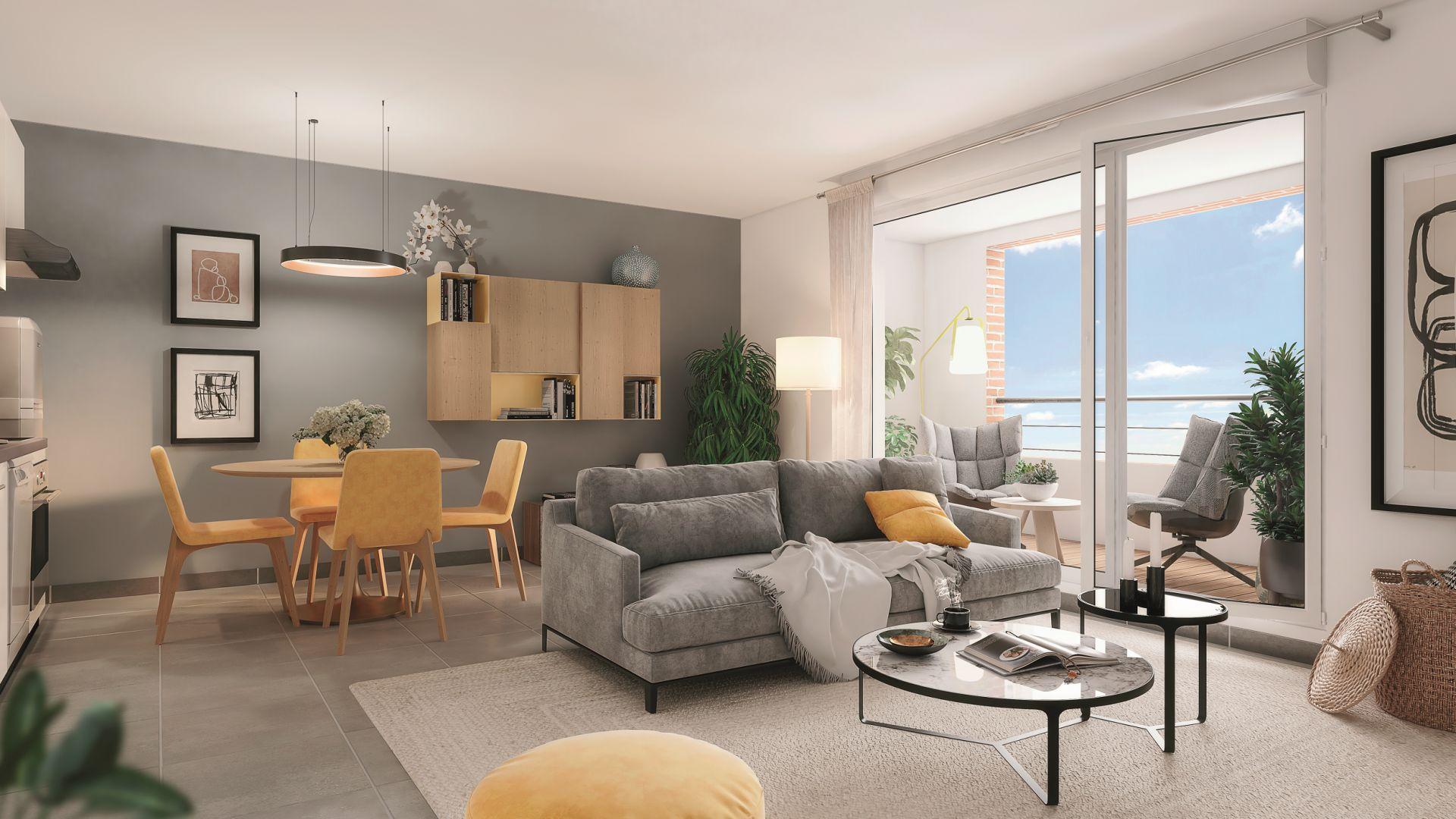 Greencity Immobilier - Le Rialto - achat appartements du T1 bis au T3 - Eaunes - Muret 31600 - vue intérieure
