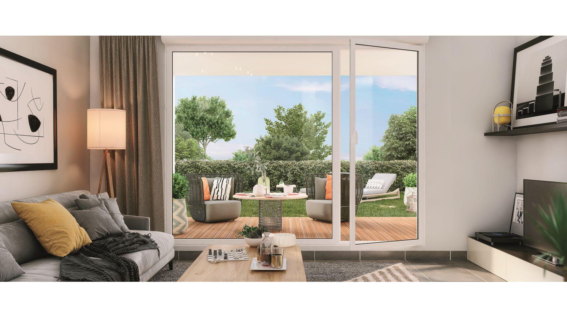 Greencity Immobilier - Le Rialto - achat appartements du T1 bis au T3 - Eaunes - Muret 31600 - vue terrasse