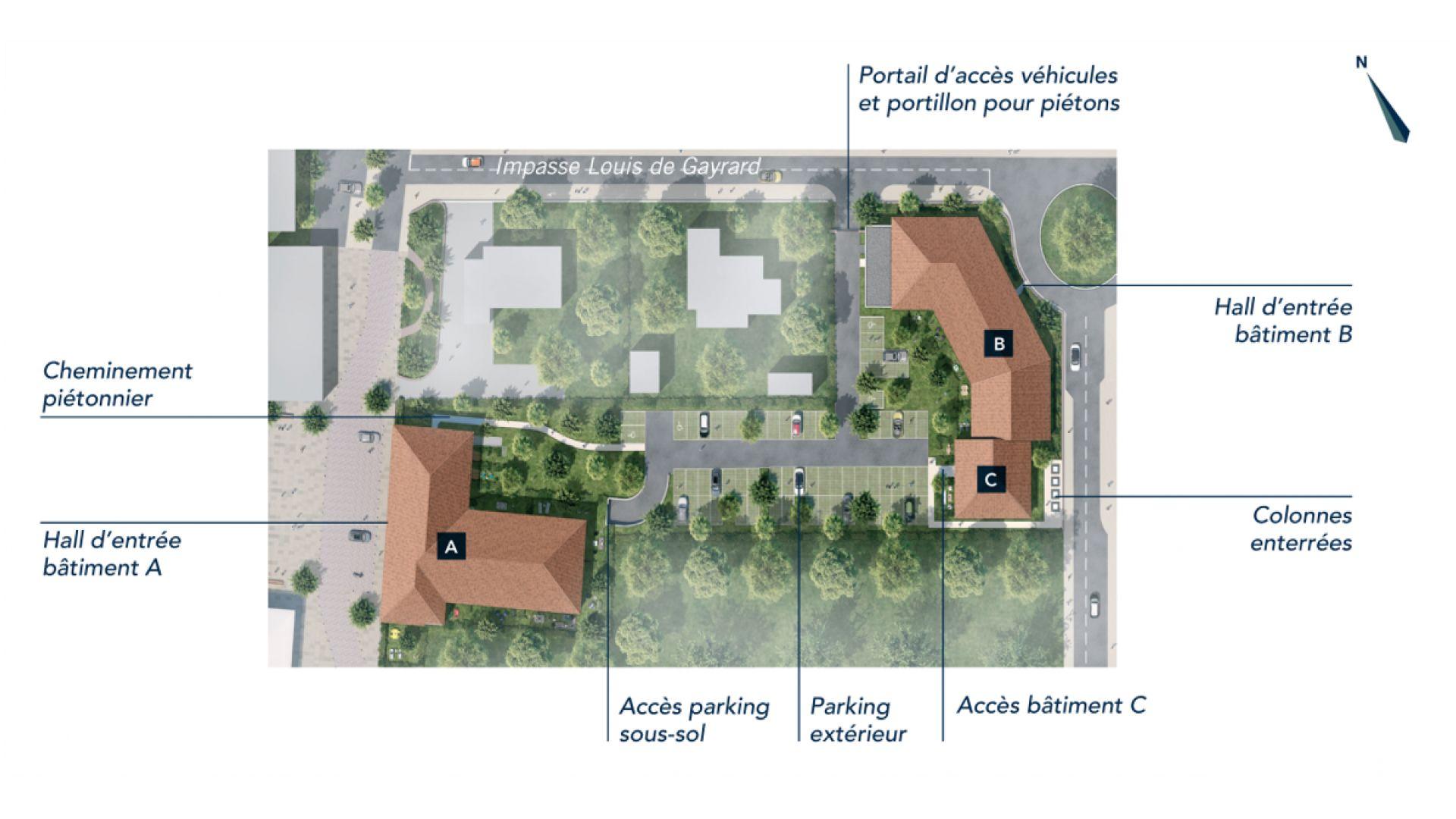 Greencity Immobilier - Le Rialto - achat appartements du T1 bis au T3 - Eaunes - Muret 31600 - plan de masse
