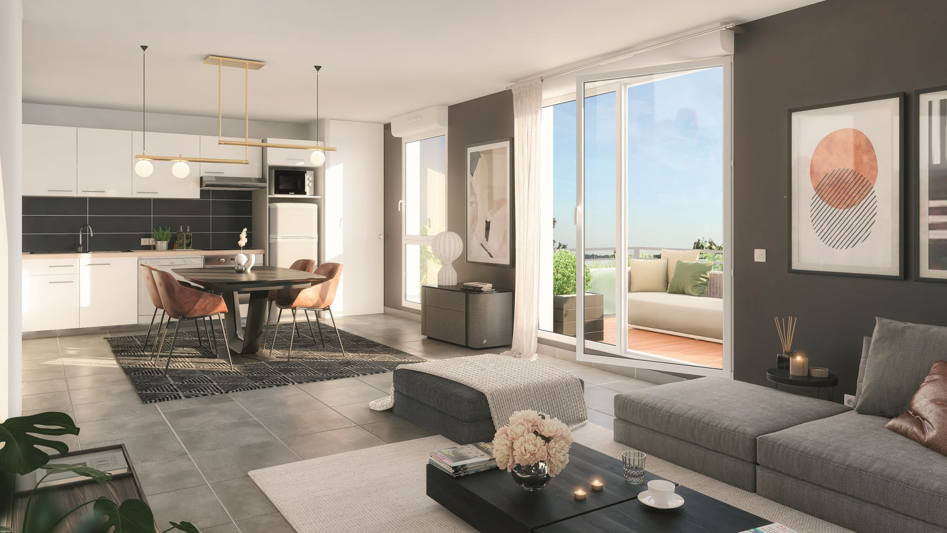 Greencity Immobilier - Le Roncevaux - achat appartements du T2 au T3 - Pechbonnieu 31140 - vue intérieure