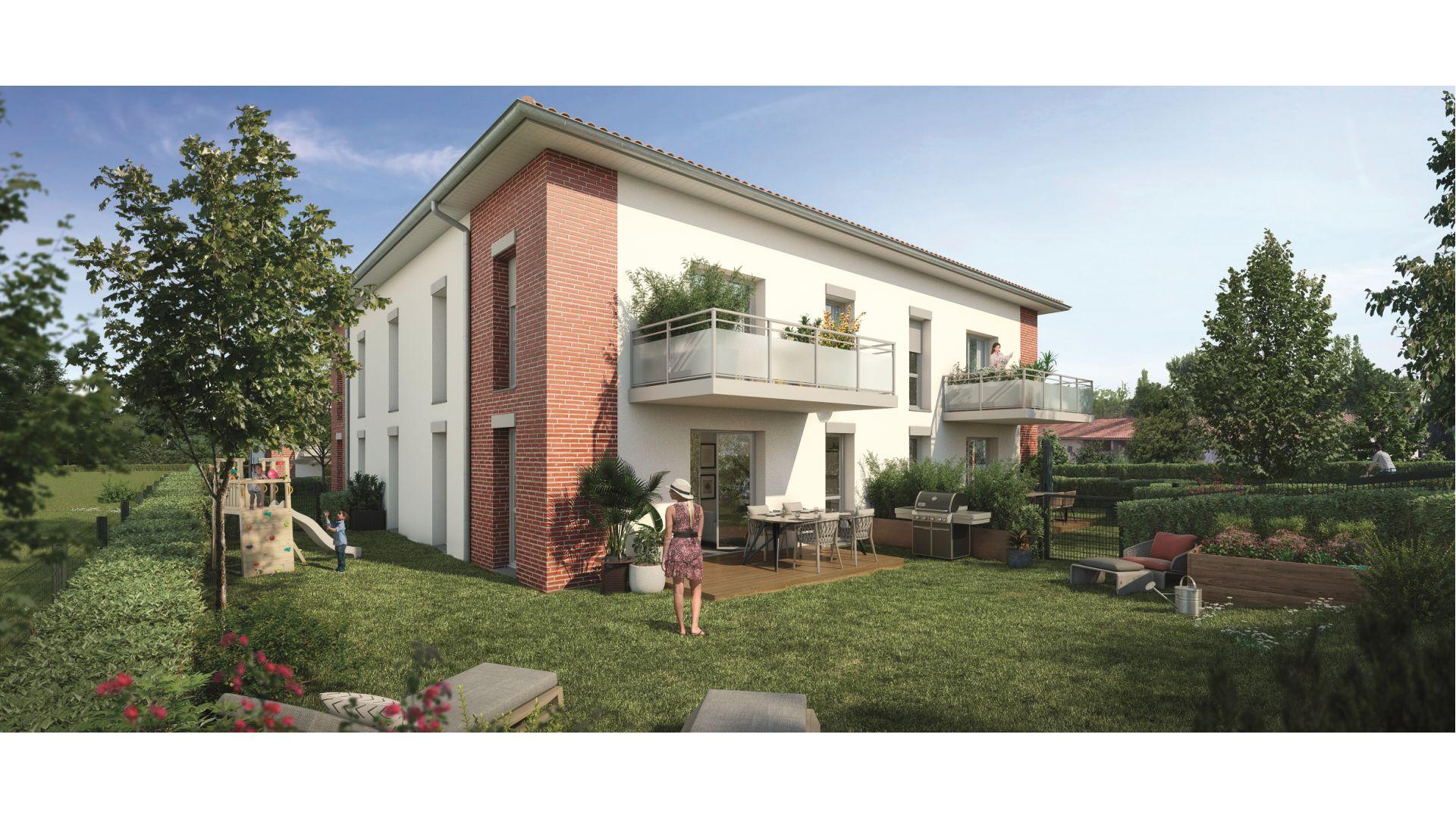 Greencity Immobilier - Le Roncevaux - achat appartements du T2 au T3 - Pechbonnieu 31140 - vue jardin