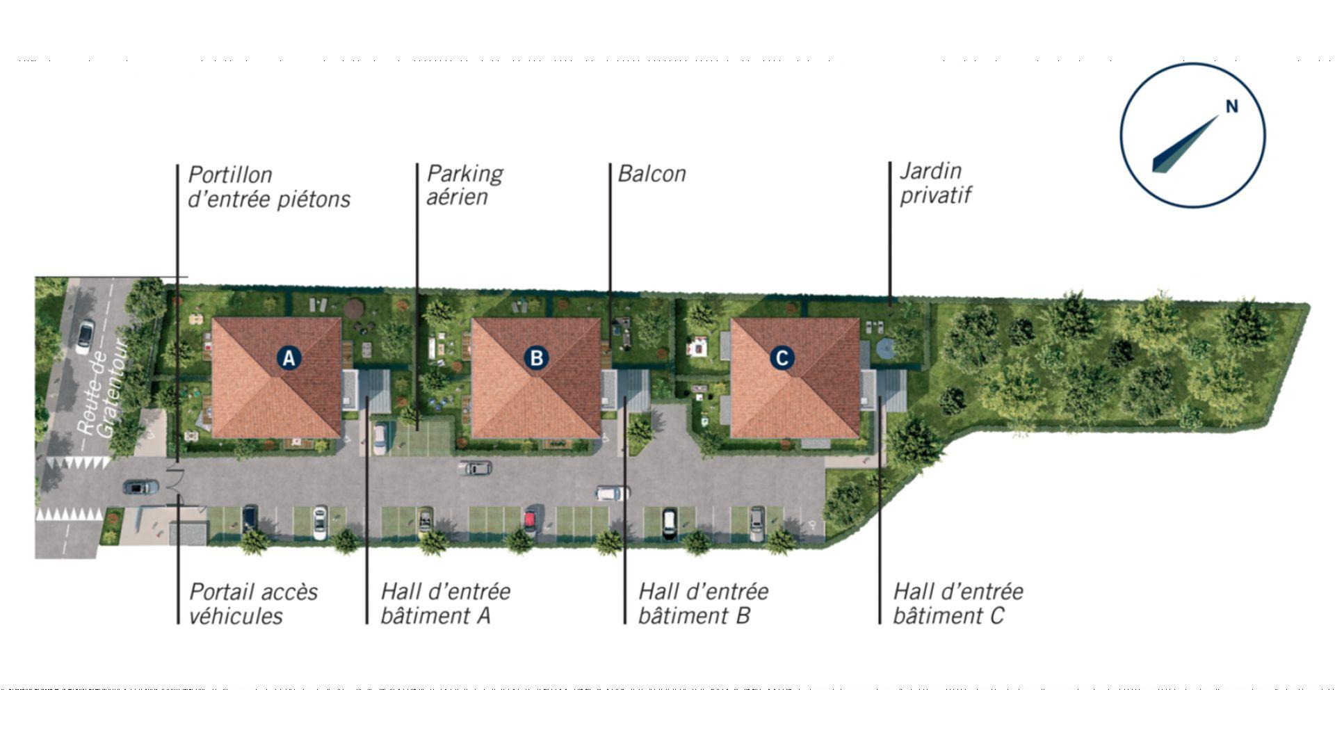 Greencity Immobilier - Le Roncevaux - achat appartements du T2 au T3 - Pechbonnieu 31140 - plan de masse