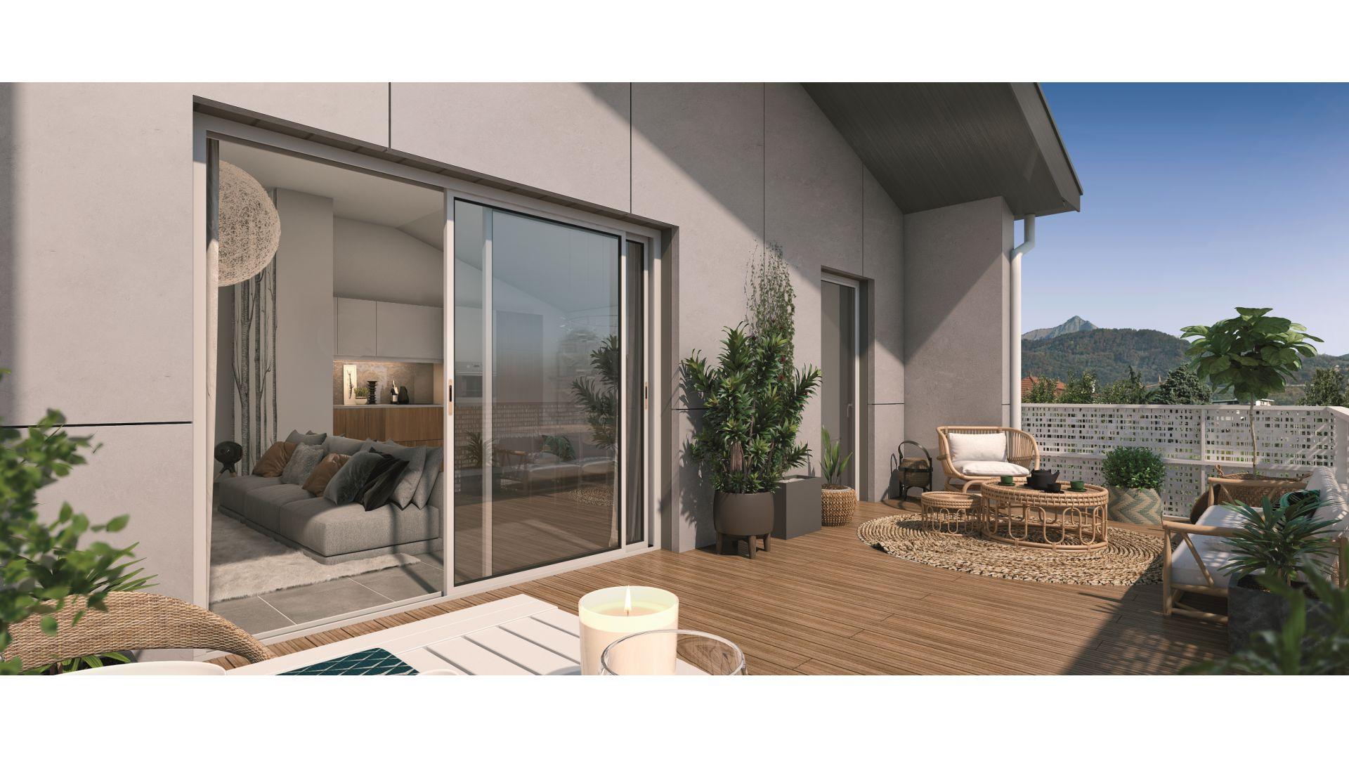 Greencity Immobilier - Résidence Le Saphir - 74300 Cluses - appartements neufs a vendre du T2 au T4 - vue terrasse