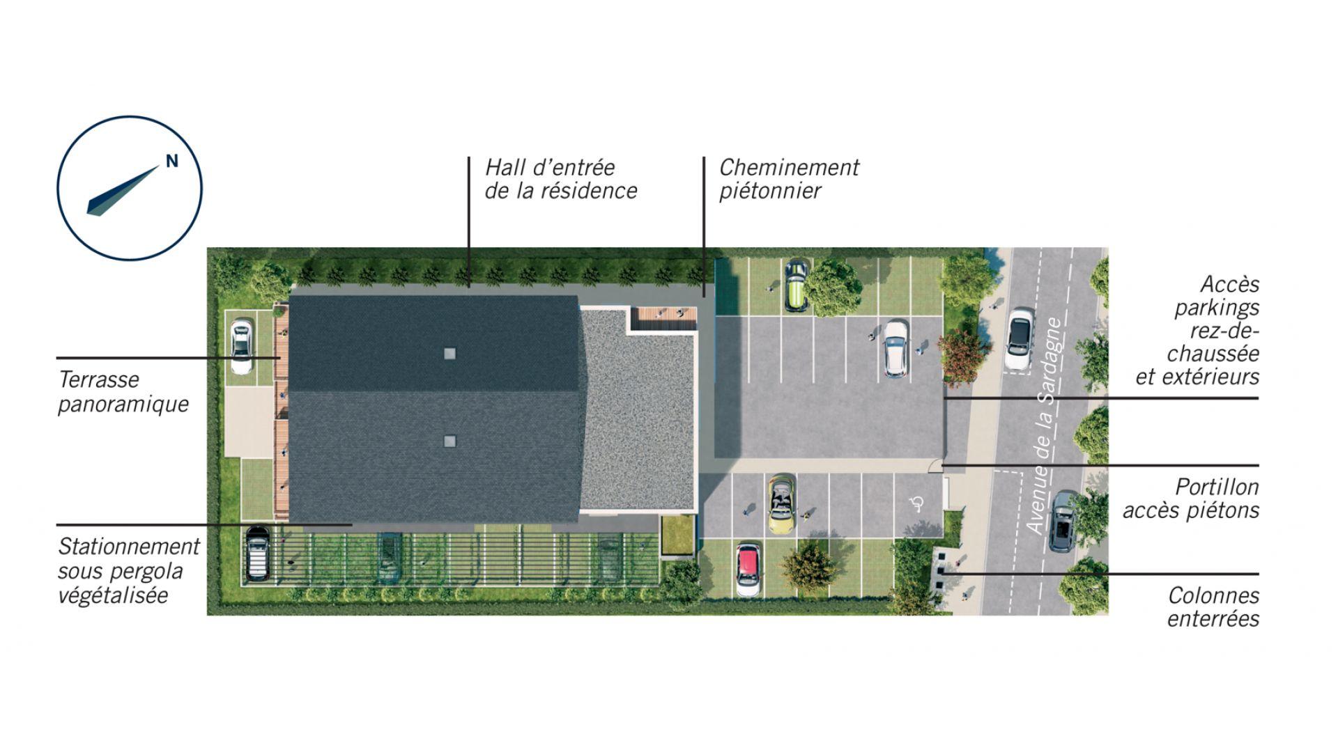Greencity Immobilier - Résidence Le Saphir - 74300 Cluses - appartements neufs a vendre du T2 au T4 - plan de masse
