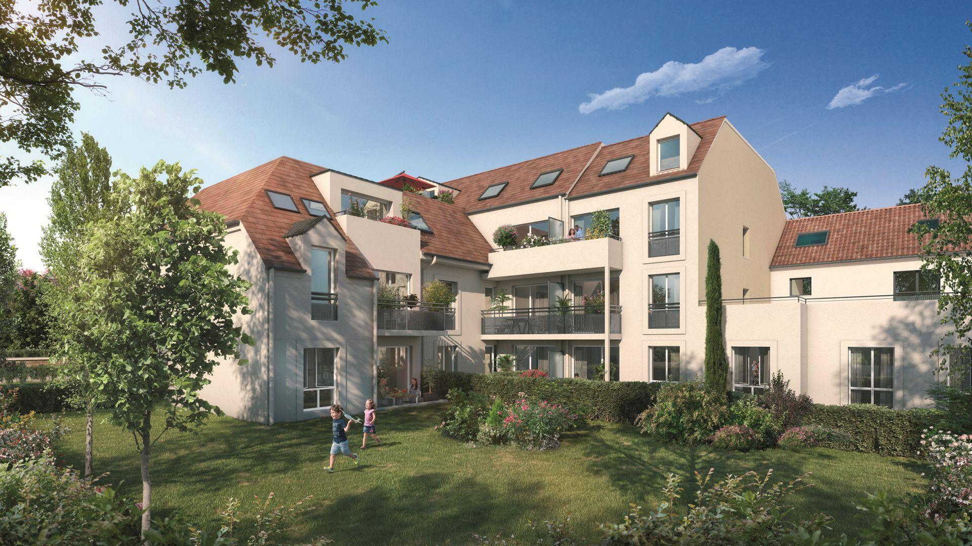 Greencity Immobilier - Le Sisley - achat appartements du T2 au T4 - Pontault-Combault 77340 - vue jardin