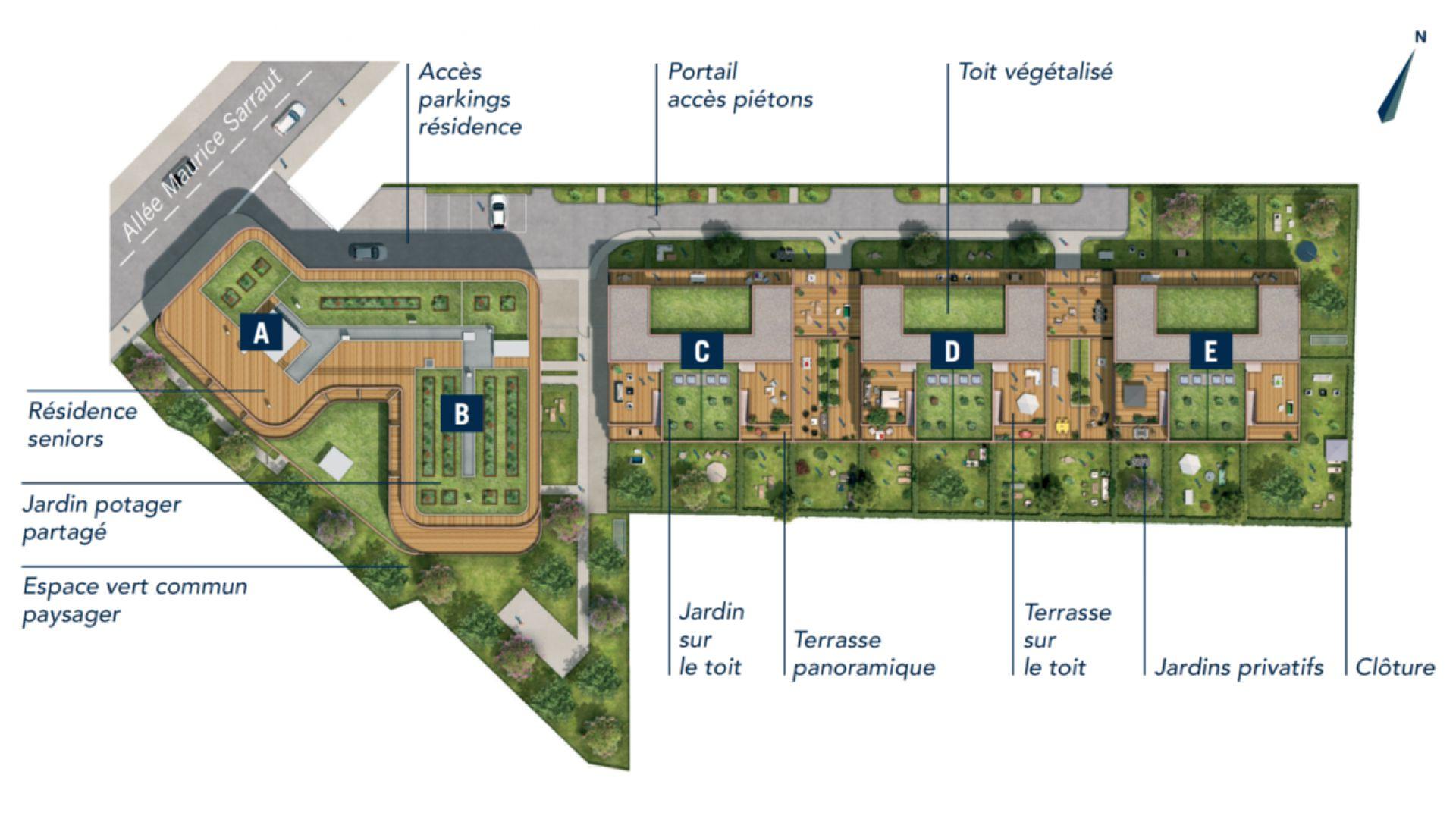 GreenCity immobilier - Toulouse quartier Saint-Cyprien 31300 - Patte D'Oie - allée Maurice sarraut - appartements neufs du T2 au T4 - plan de masse