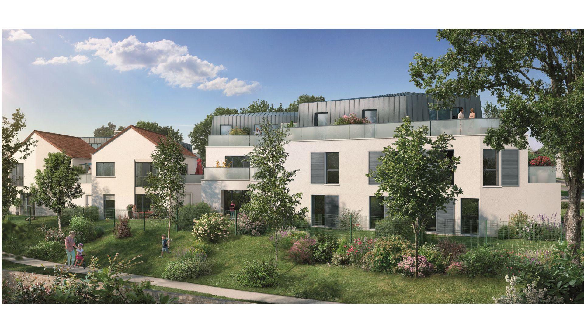 Greencity Immobilier - Le Stendhal - Cesson 77240 - achat appartements du T1 au T4 - Villa T4 et T5  - vue jardin