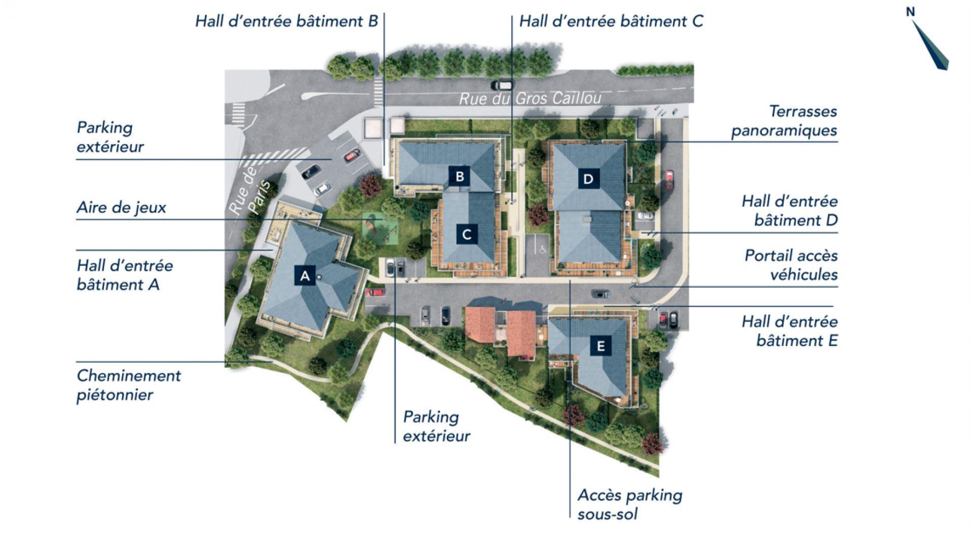 Greencity Immobilier - Le Stendhal - Cesson 77240 - achat appartements du T1 au T4 - Villa T4 et T5 - Plan de masse