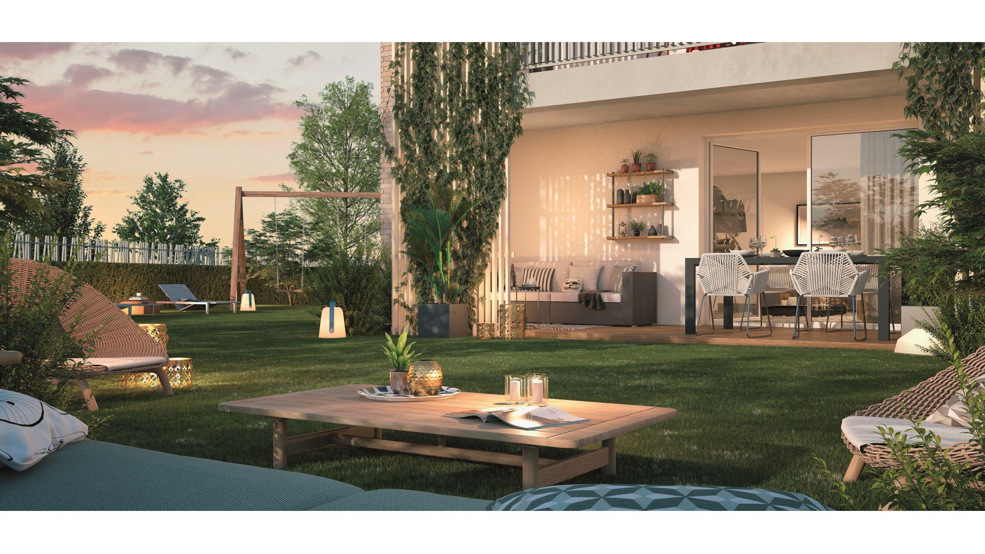 GreenCity immobilier - achat appartement neuf Toulouse Saint-Simon - 31100 - Résidence Val'oriane - T2 - T3 - T4 - vue terrasse