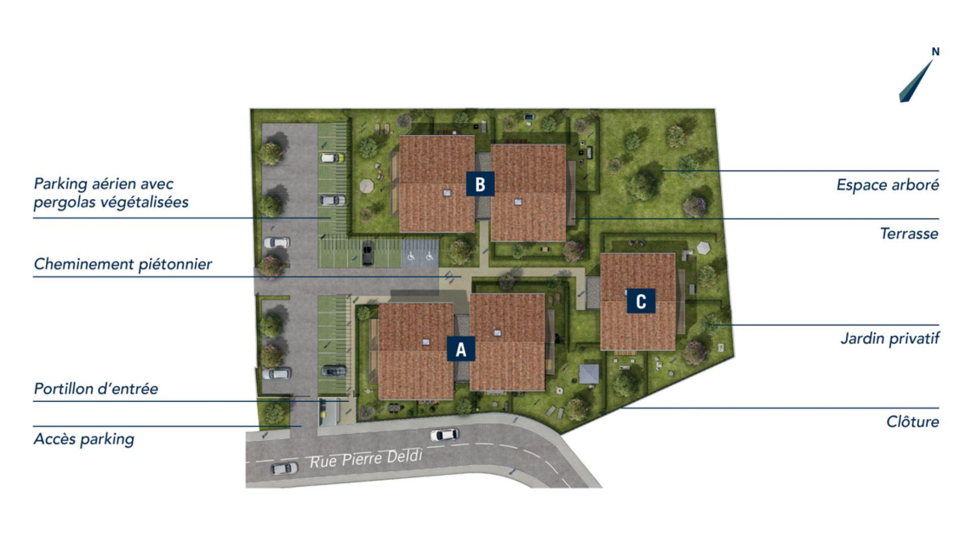 GreenCity immobilier - achat appartement neuf Toulouse Saint-Simon - 31100 - Résidence Val'oriane - T2 - T3 - T4 - plan de masse