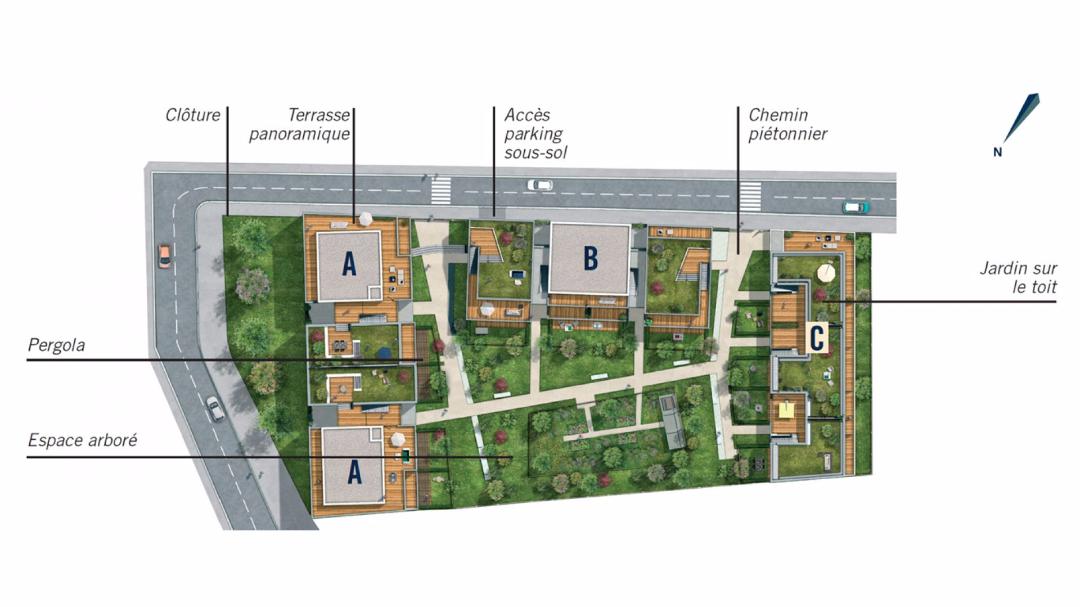 Greencity Immobilier - L'Eleven - Saint-Martin du Touch - plan de masse