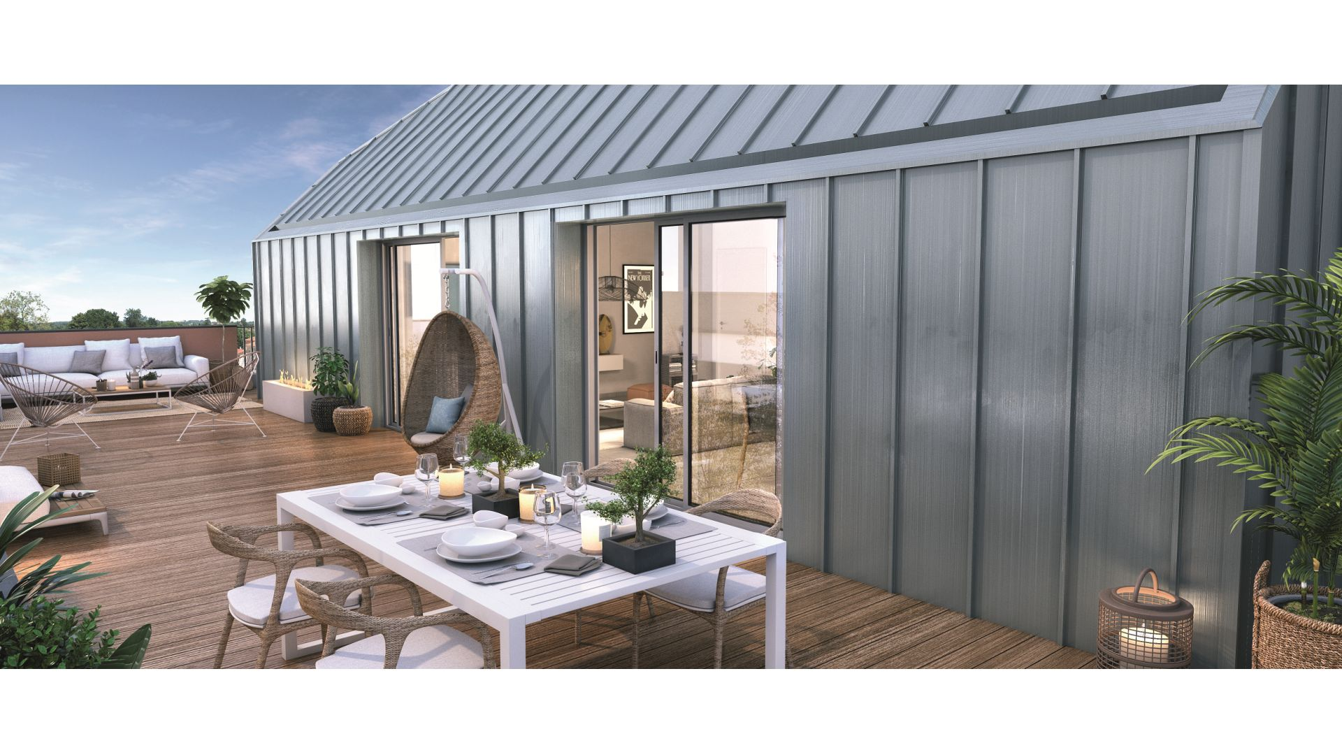 Greencity Immobilier - Résidence Les Camélias - Toulouse Croix Daurade 31200 - à vendre appartements - immobilier neuf du T2 au T4 Duplex - vue terrasse