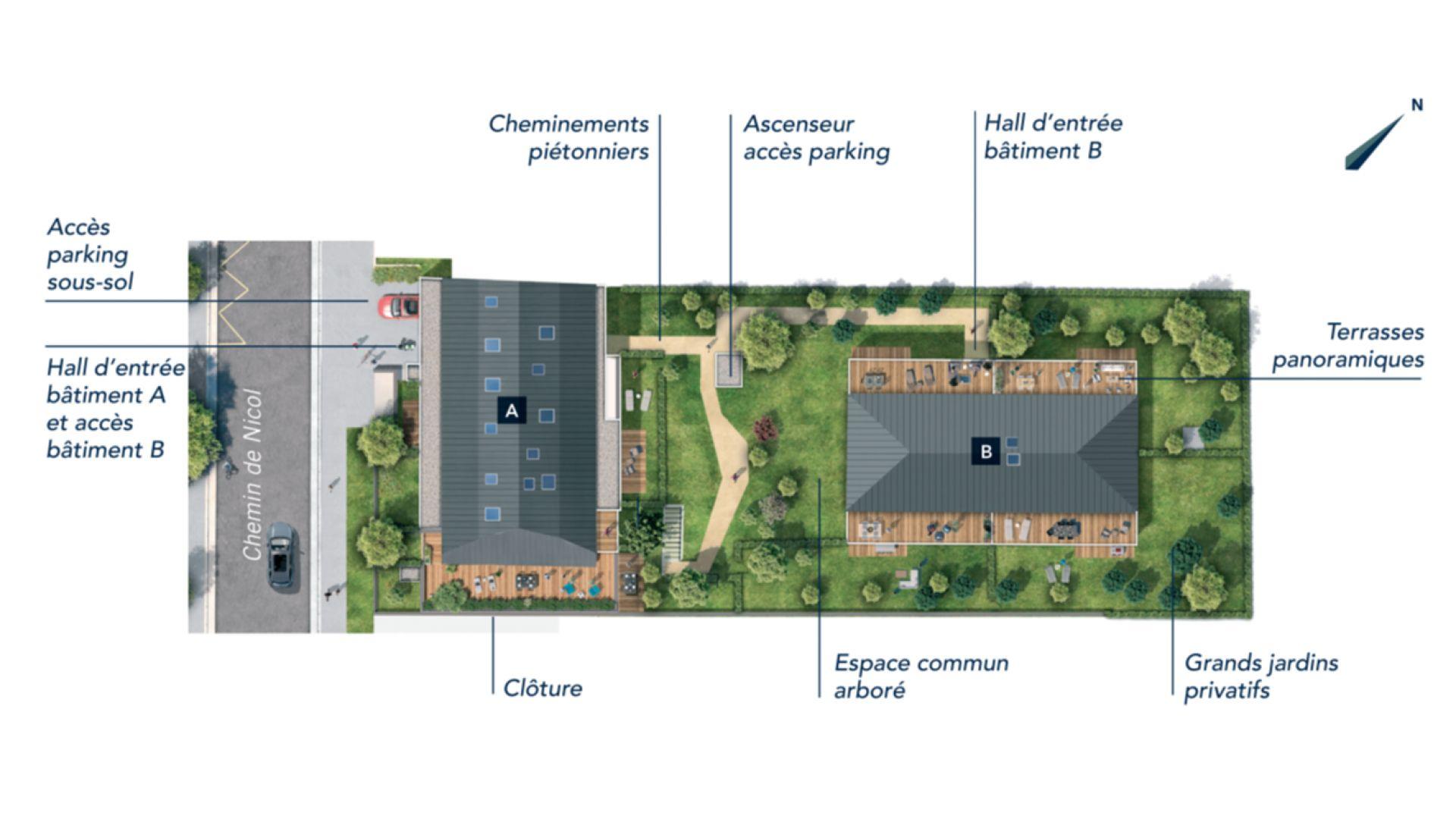 Greencity Immobilier - Résidence Les Camélias - Toulouse Croix Daurade 31200 - à vendre appartements - immobilier neuf du T2 au T4 Duplex - plan de masse